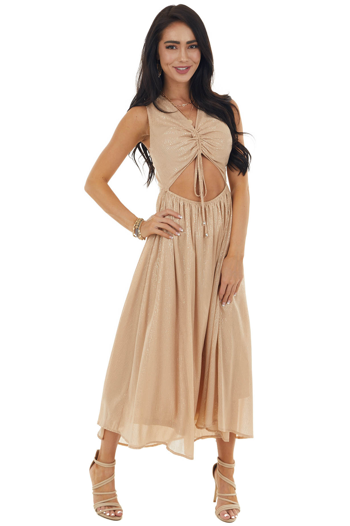 Champagne Glitter Sleeveless Midi Woven Dress with Cut Out