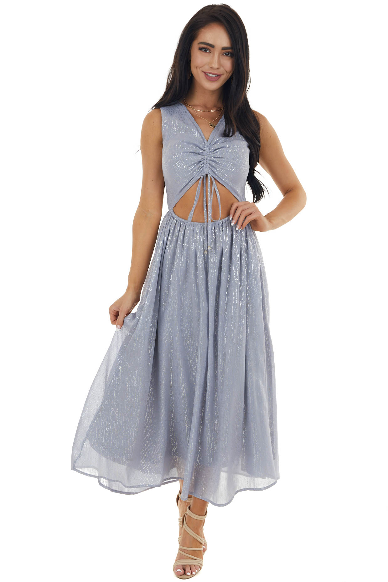 Dusty Blue Glitter Sleeveless Midi Woven Dress with Cut Out