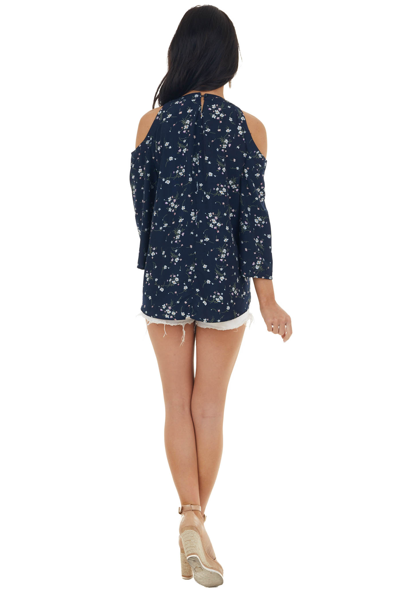 Navy Floral Print Cold Shoulder Blouse with 3/4 Sleeves