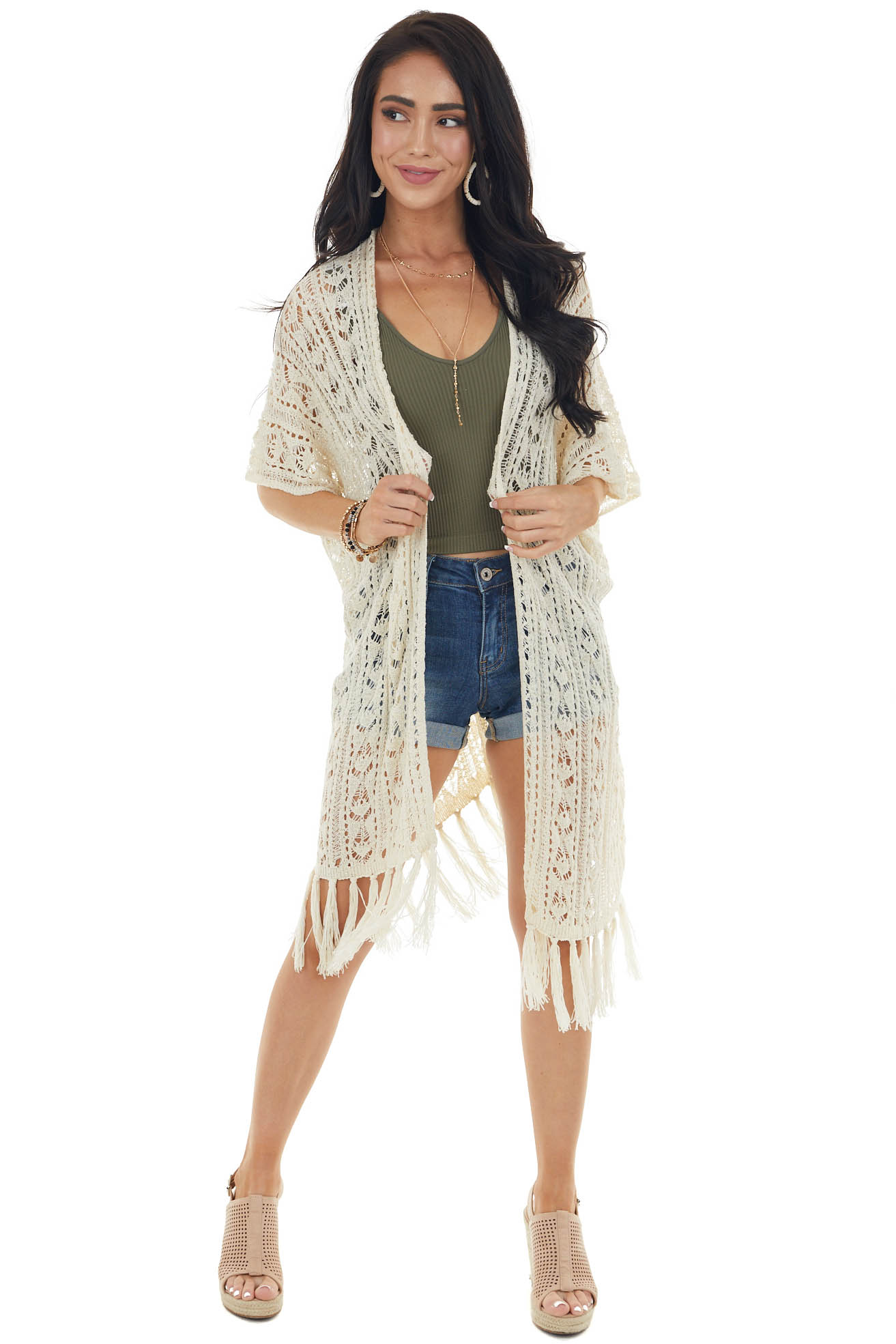 Cream Loose Knit Cardigan with Fringe Detail