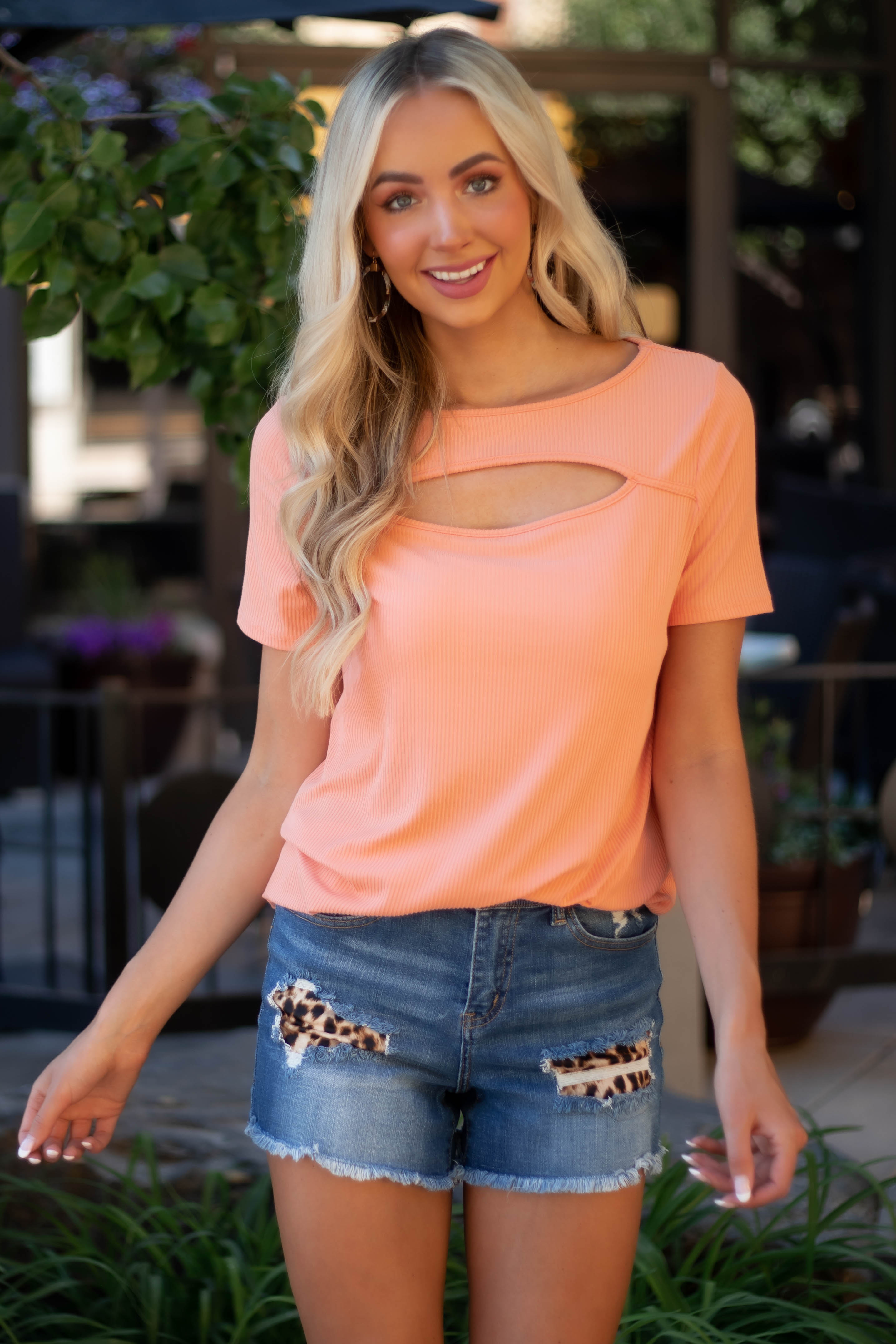 Light Coral Chest Cut Out Ribbed Knit Top