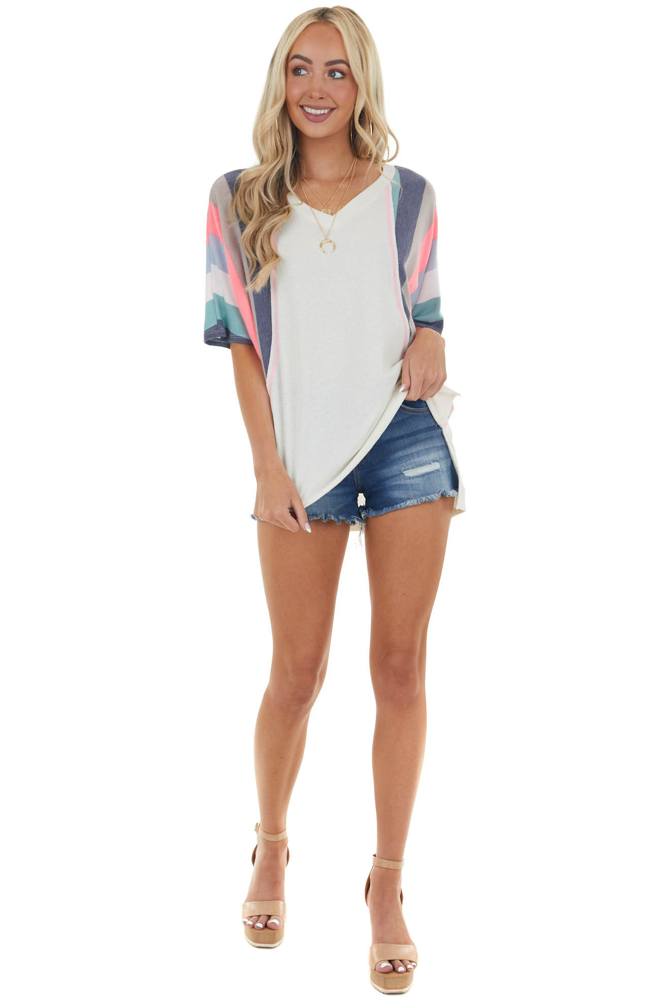 Cream Top with Contrasting Colorblock Sleeves
