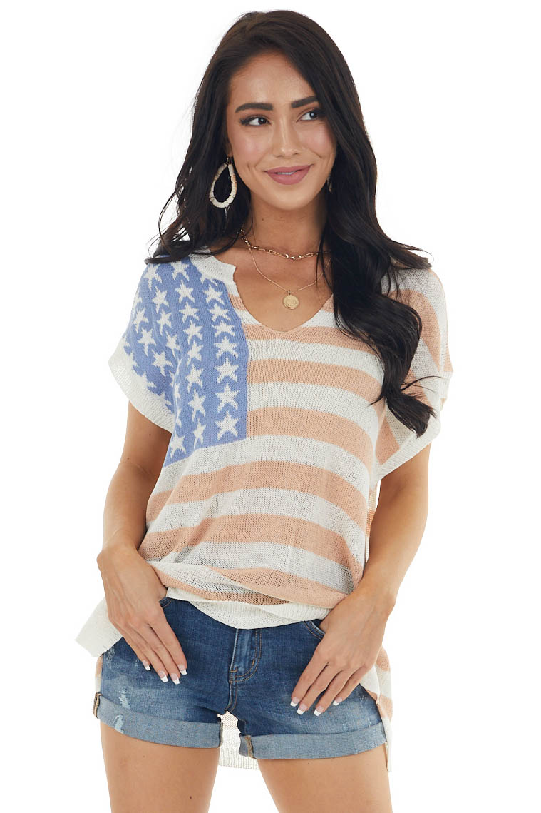 Pale American Flag Loose Knit Short Sleeve Top
