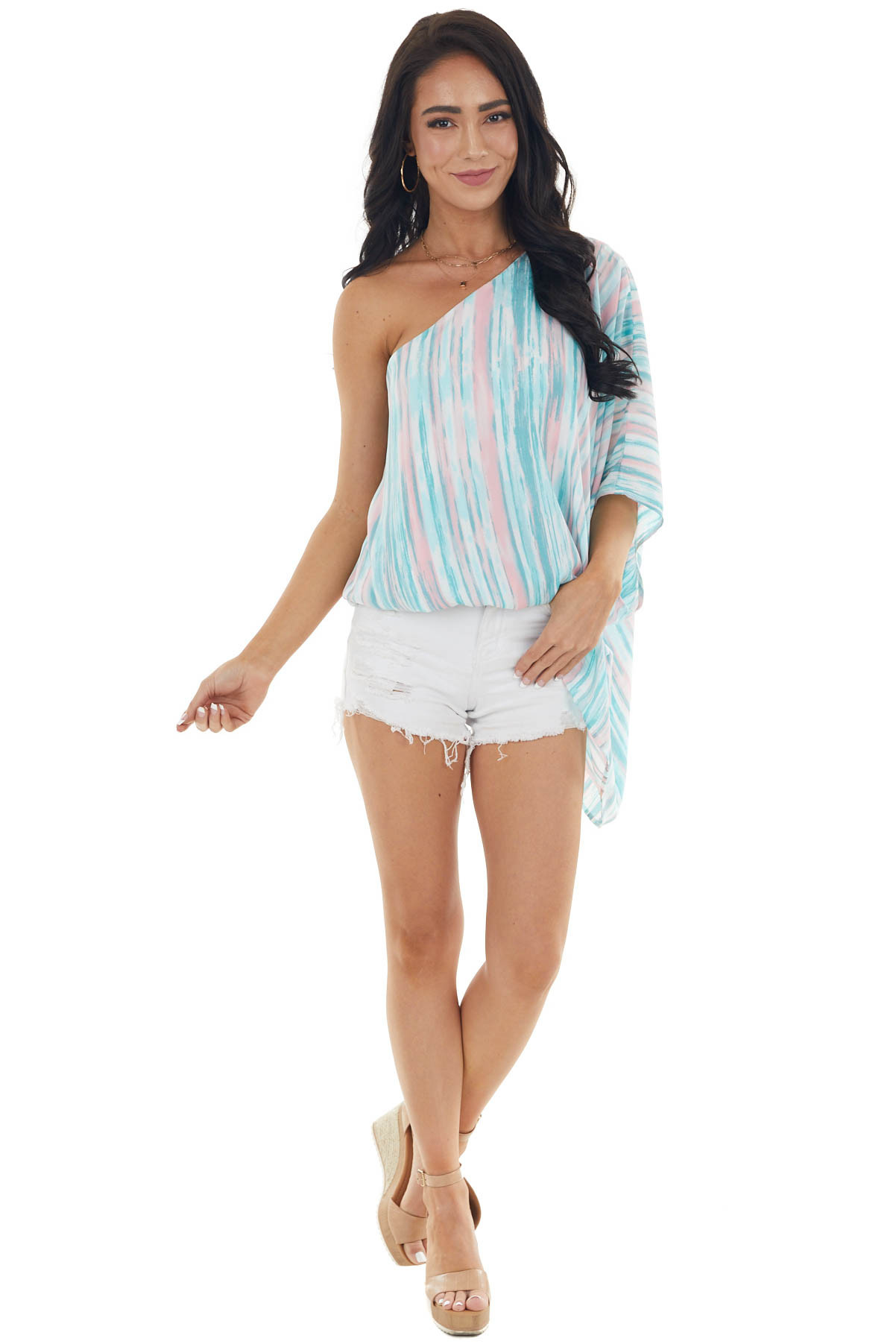 Teal Striped One Shoulder Blouse with Handkerchief Hemline