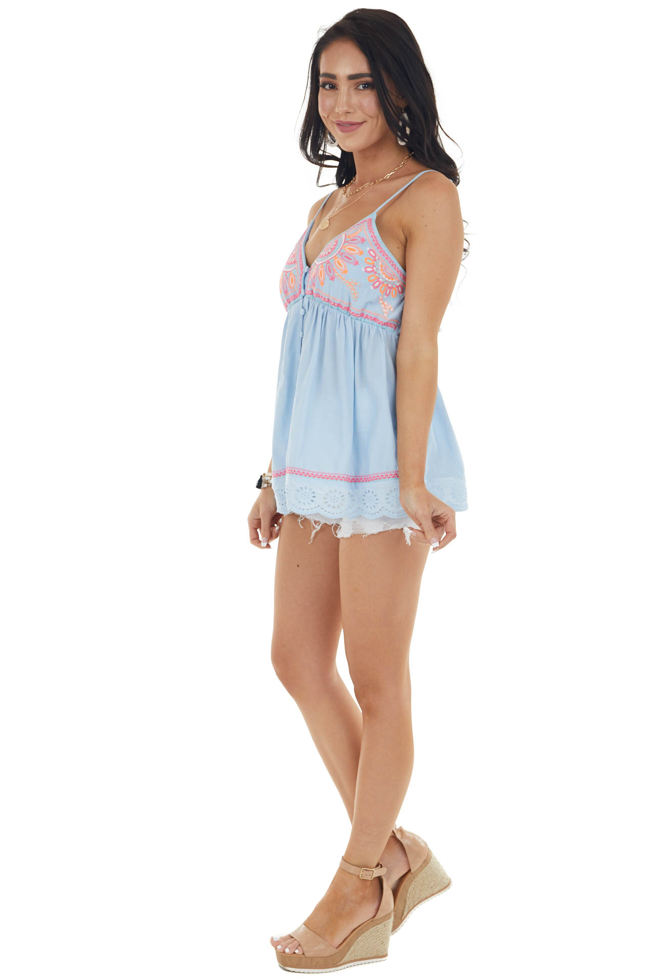 Baby Blue Embroidered Button Up Tank Top