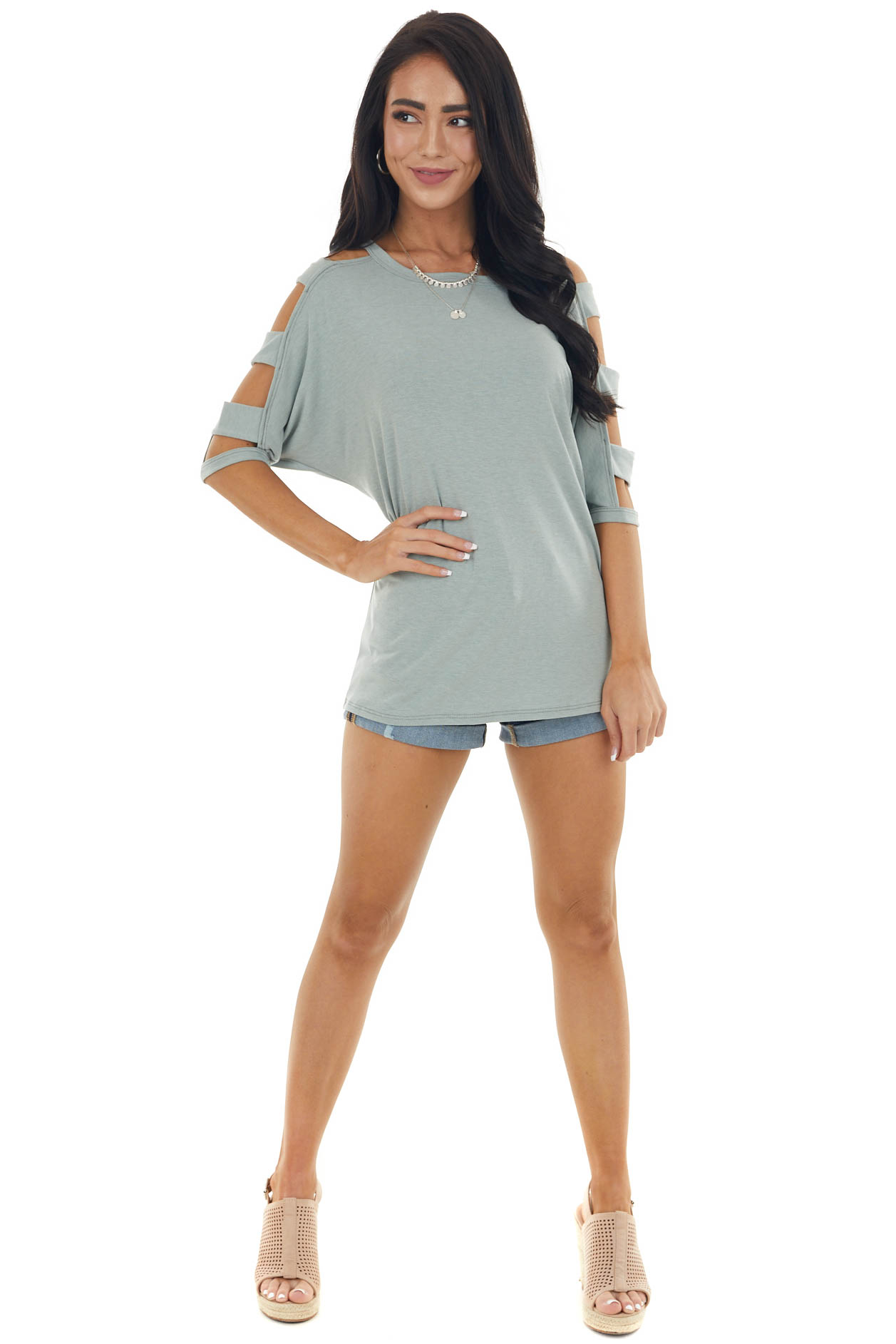 Sage Knit Top with Ladder Cut Out Half Length Sleeves