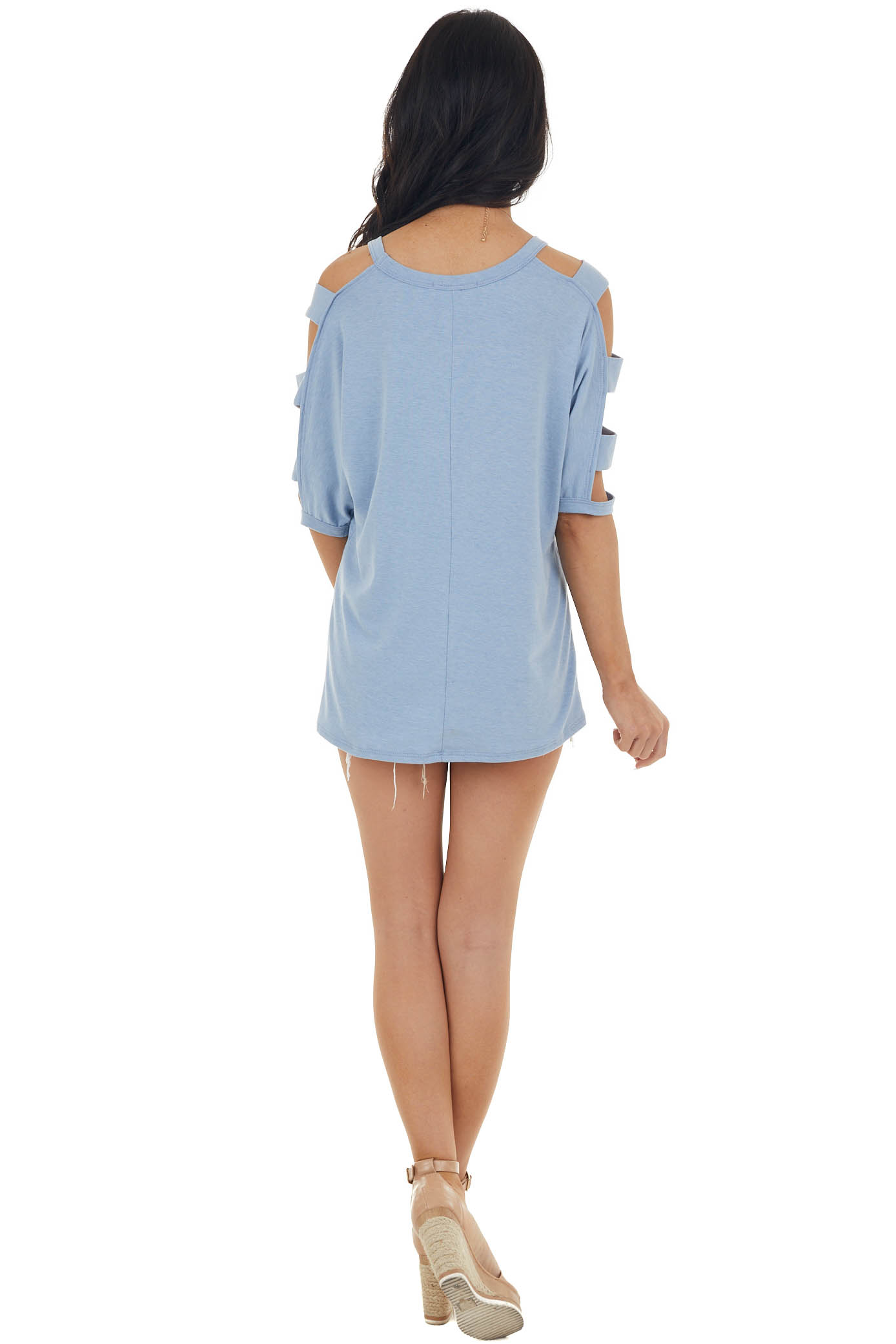Powder Blue Knit Top with Ladder Cut Out Half Length Sleeves