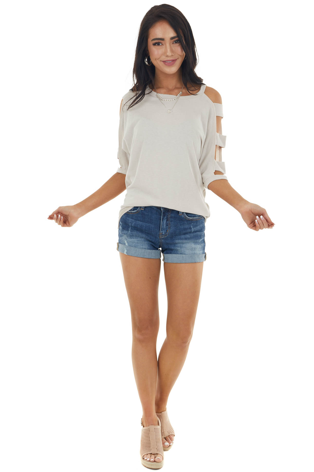 Oatmeal Knit Top with Ladder Cut Out Half Length Sleeves