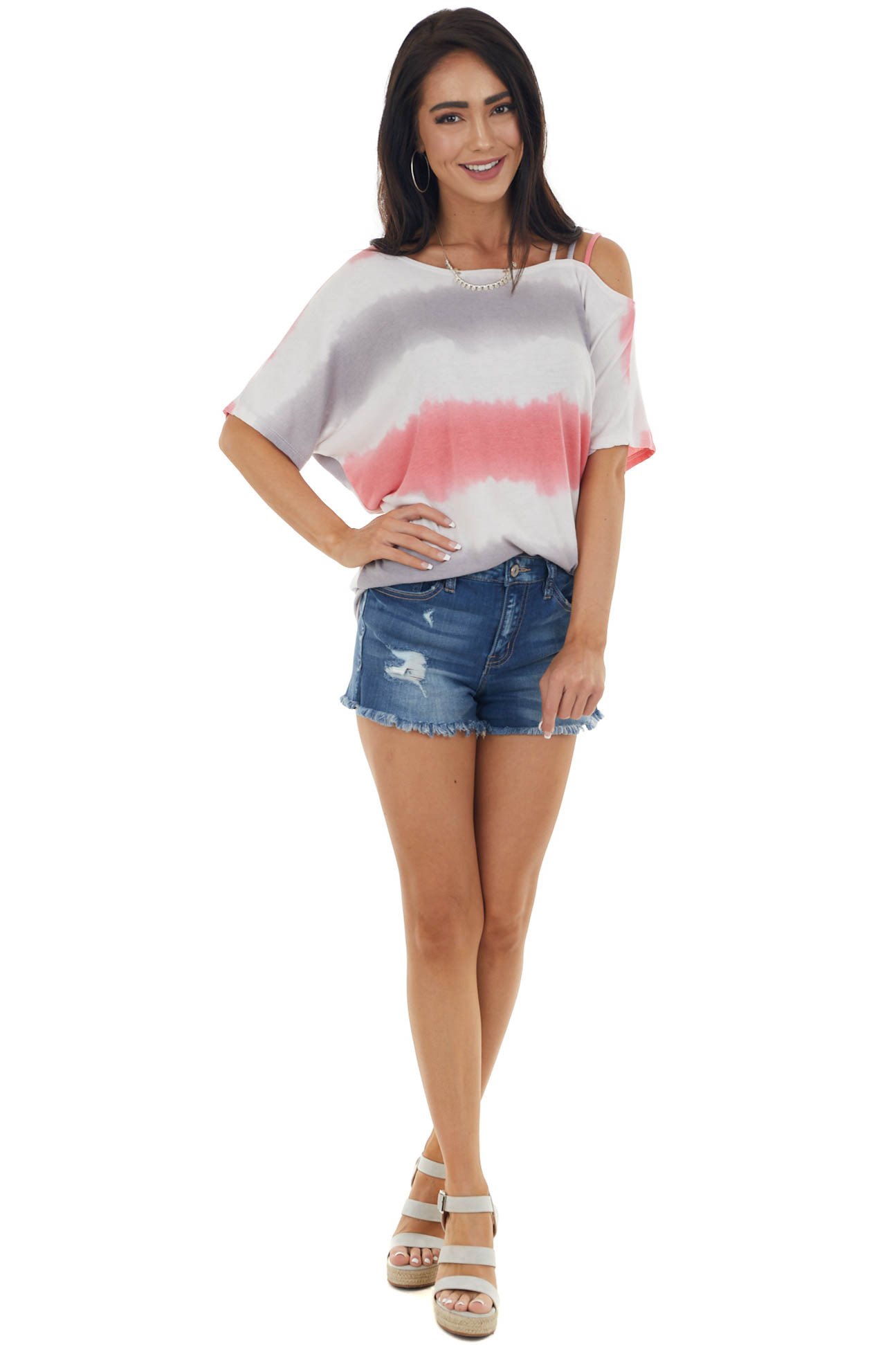 Punch Tie Dye Strappy Cold Shoulder Knit Top