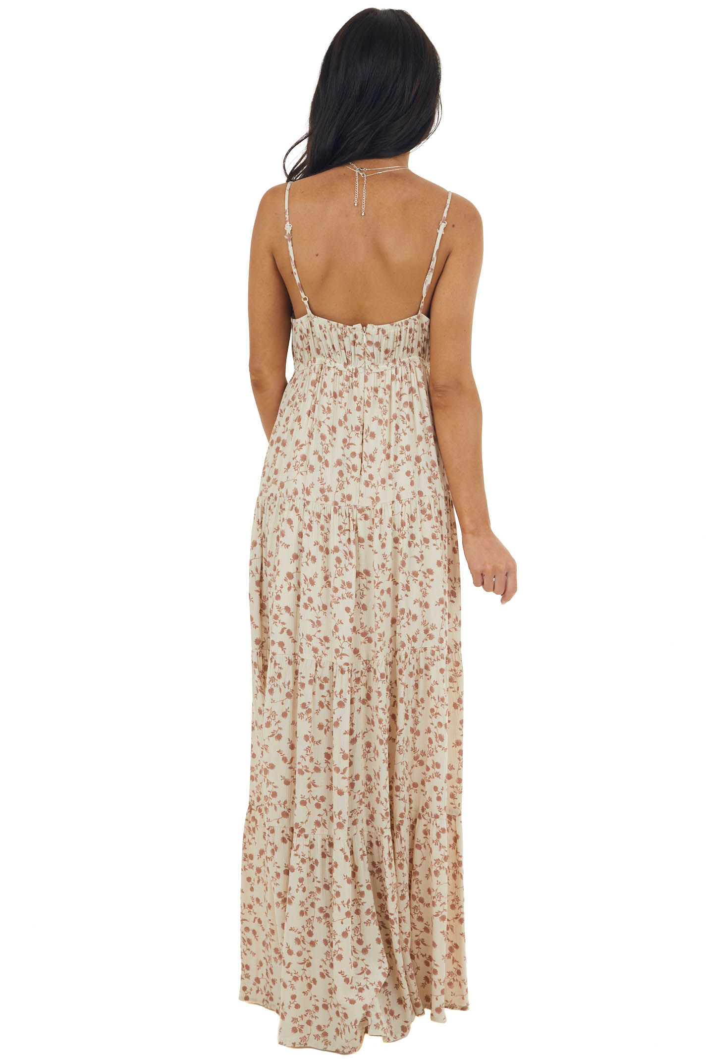 Beige Ditsy Floral Sleeveless Maxi Dress