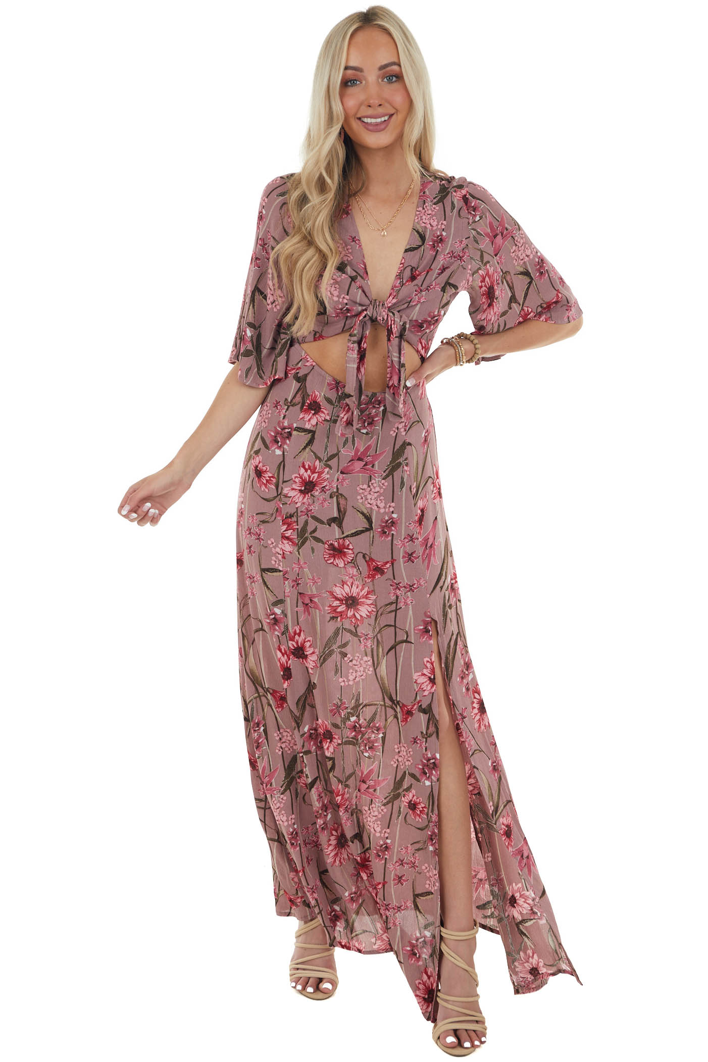 Dusty Rose Floral Maxi Dress with Front Cutout