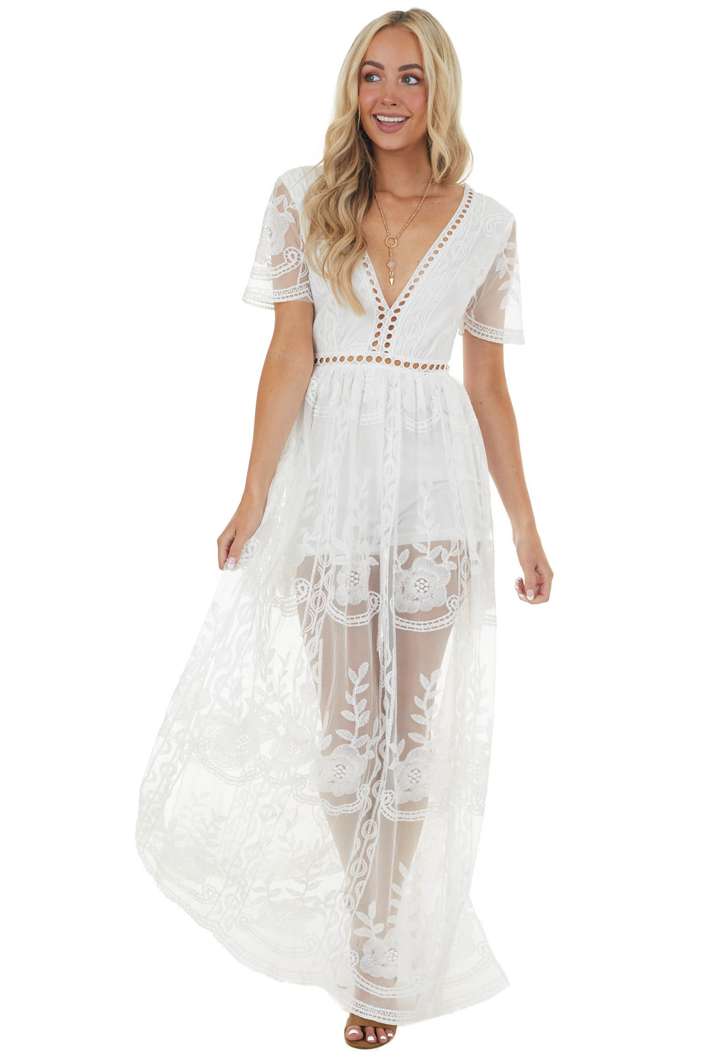 White Lace V Neck Romper with Maxi Overlay
