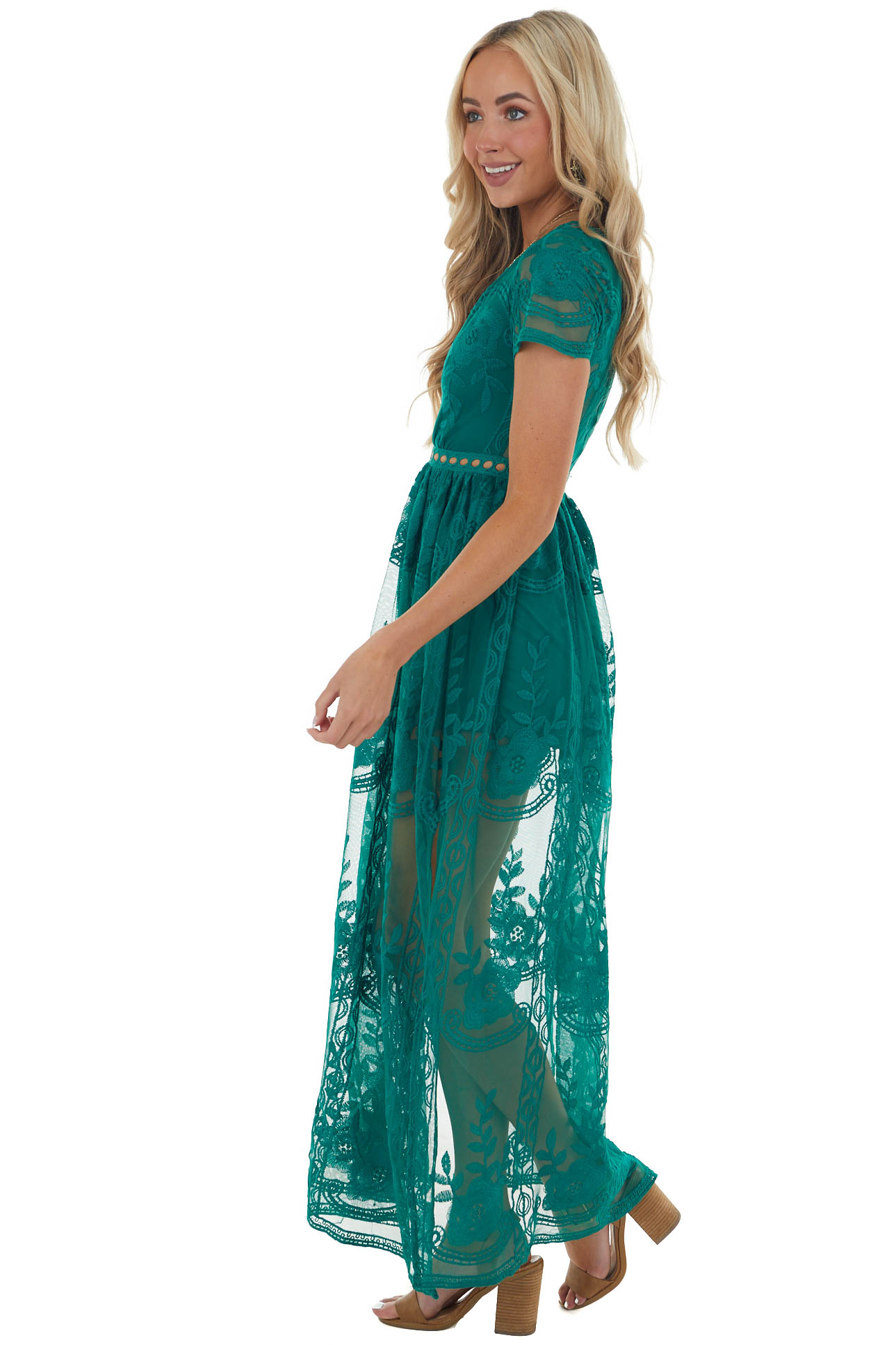 Forest Lace V Neck Romper with Maxi Overlay