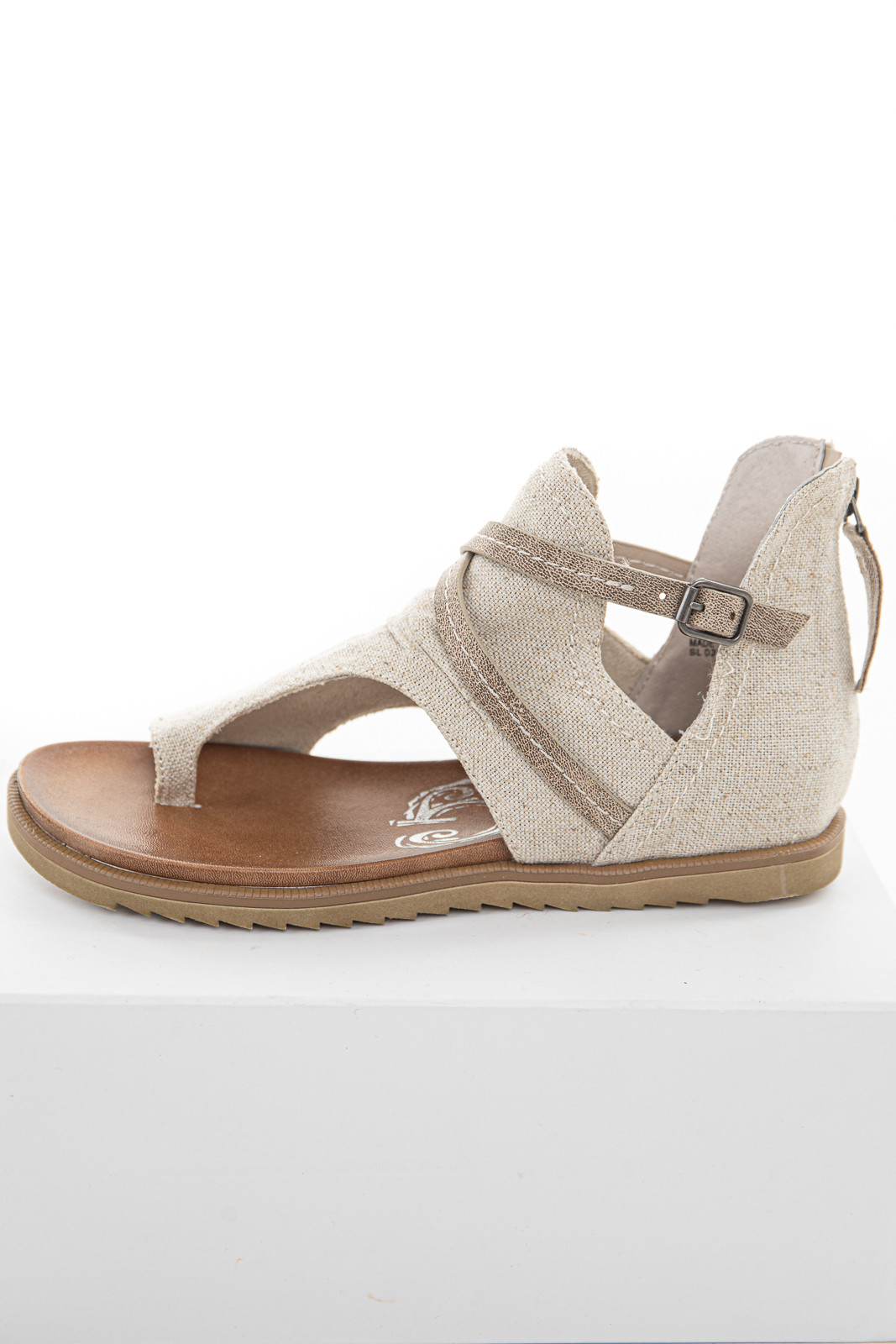 Oatmeal Gladiator Strappy Sandal with Zipper