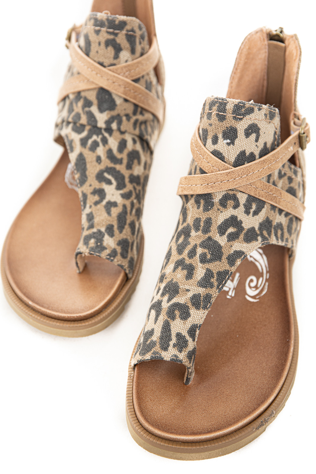 Leopard Gladiator Strappy Sandal with Zipper