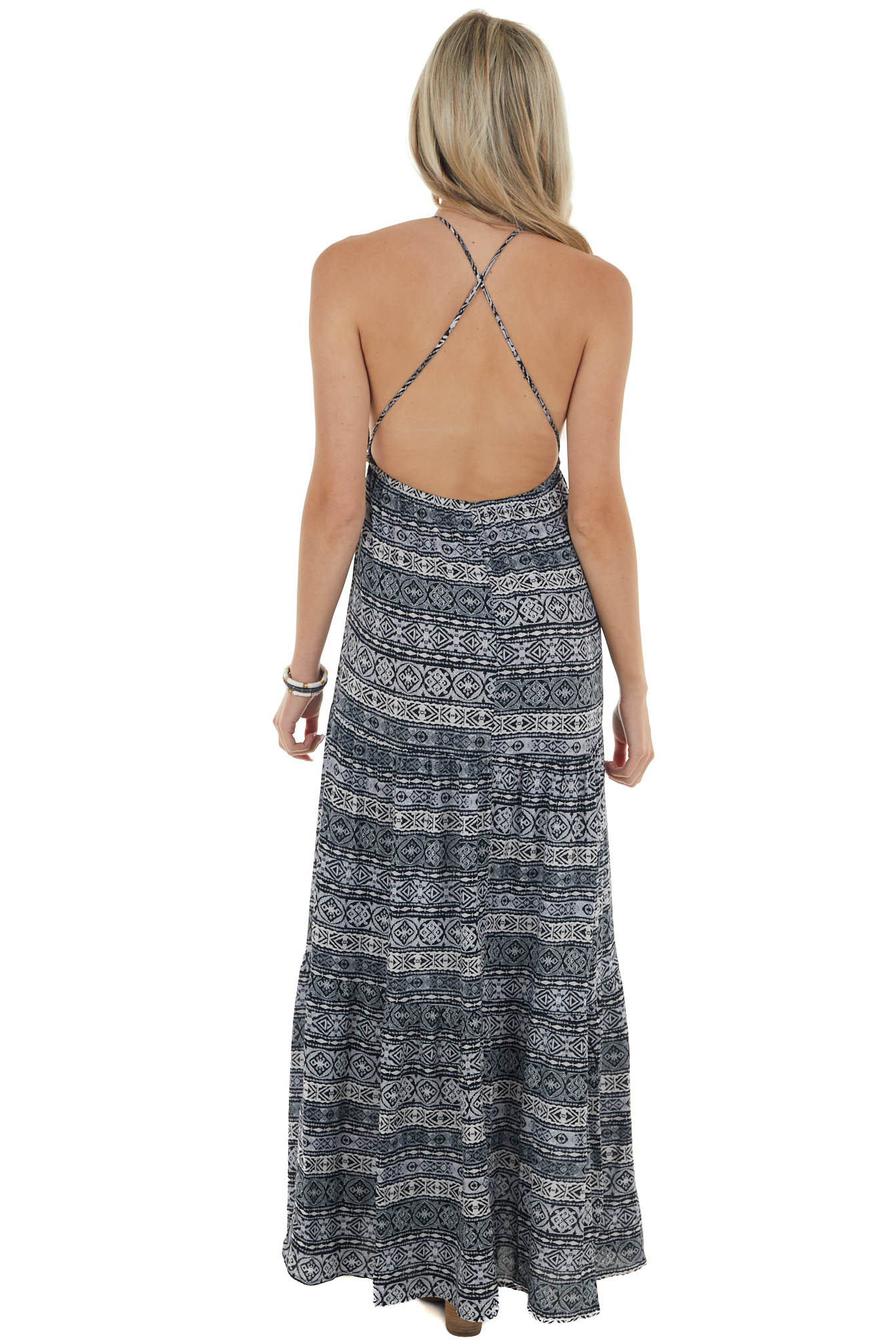 Charcoal and Ivory Abstract Print Maxi Dress