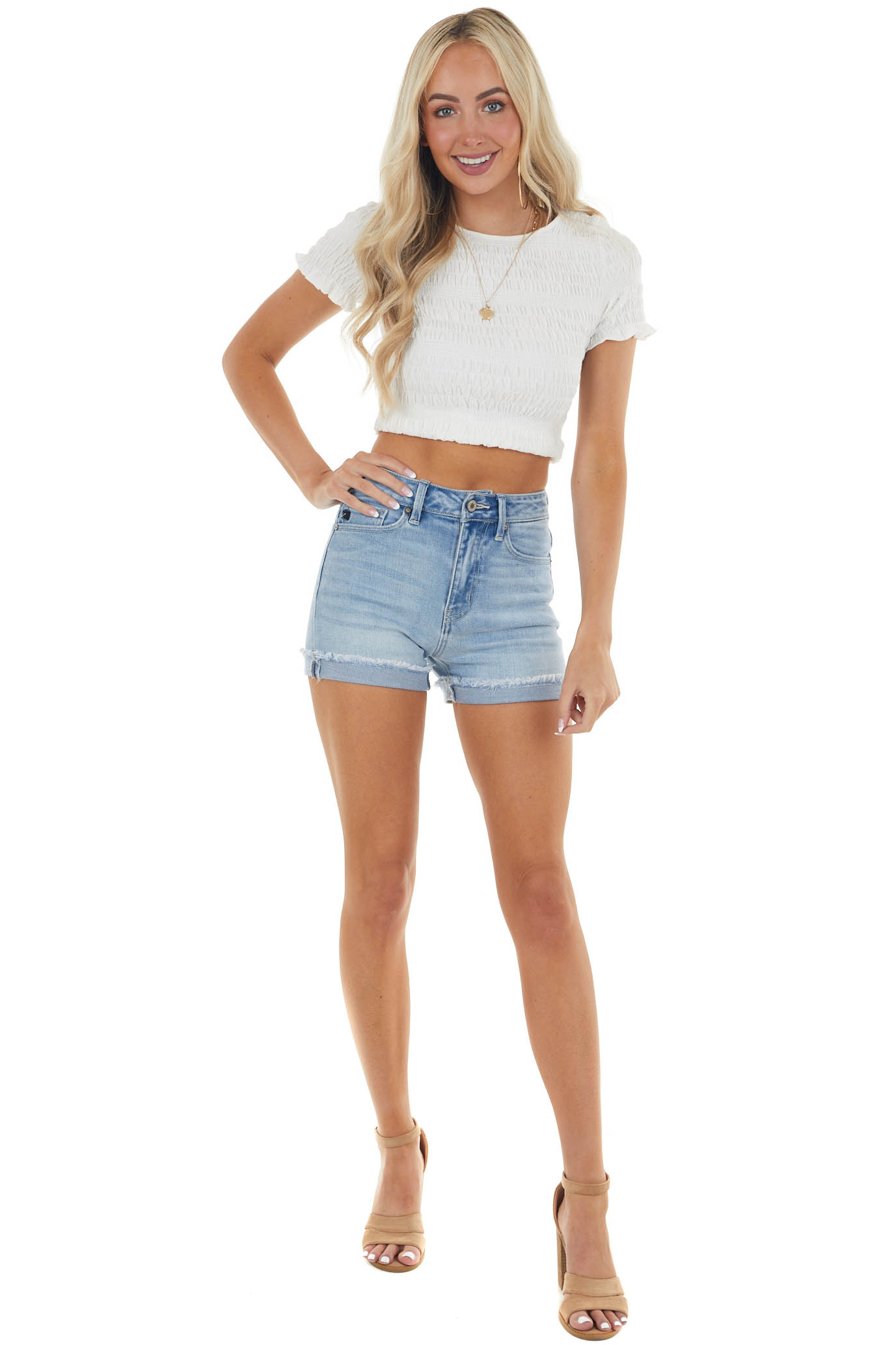 Light Wash High Waisted Denim Shorts with Distressed Detail