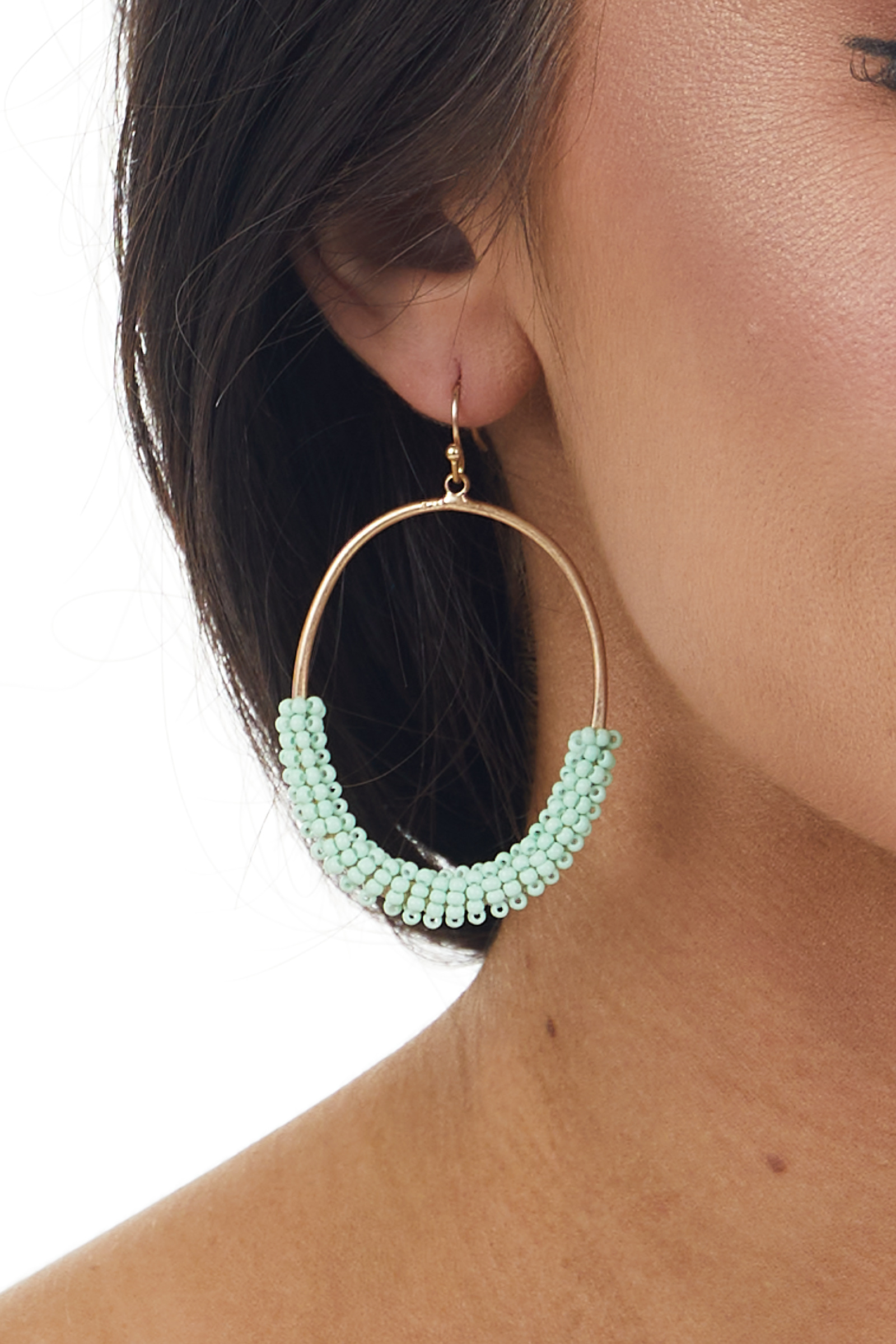 Mint and Gold Seed Bead Oval Hoop Earrings