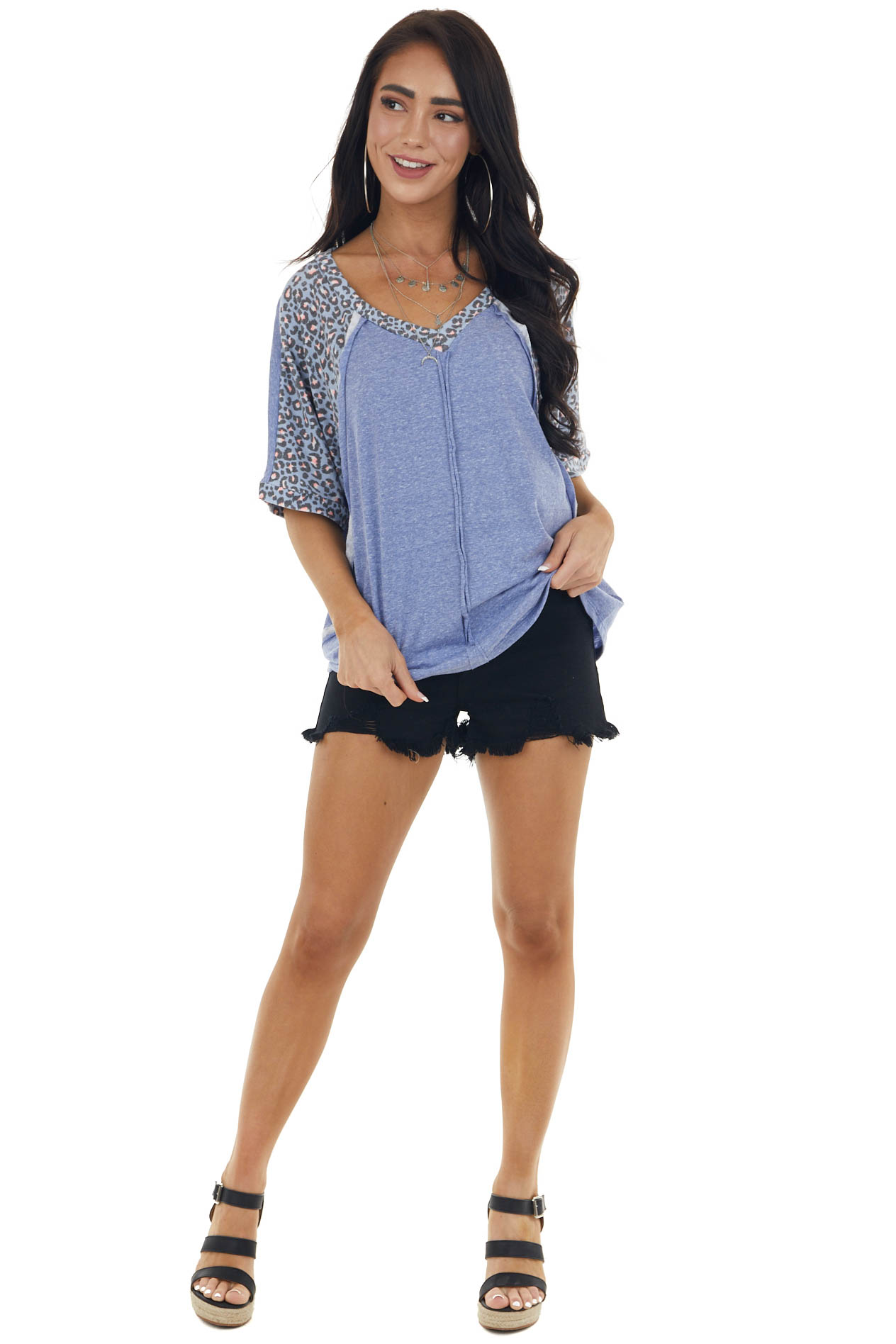 Dusty Blue Leopard Print V Neck Relaxed Tee