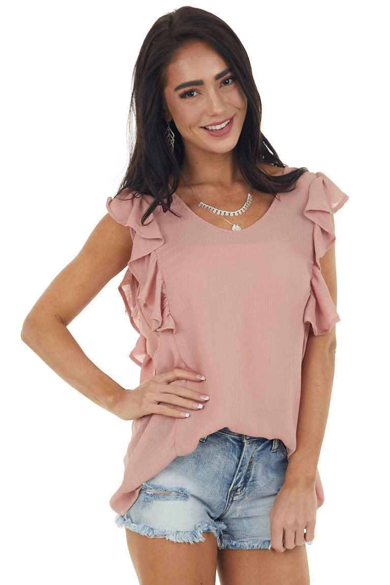 Rose Taupe Short Sleeve Top with Ruffle Detail