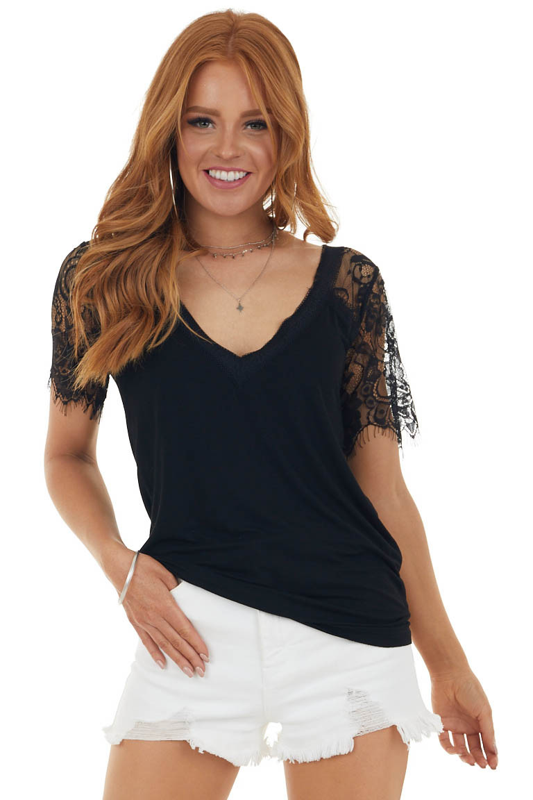 Black V Neck Short Sleeve Top with Lace Detail
