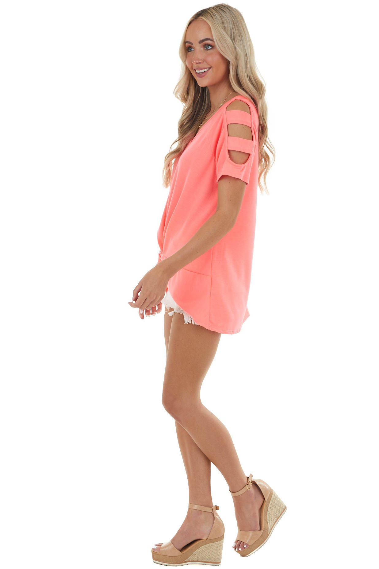 Neon Pink Knit Top with Ladder Cut Out Sleeves