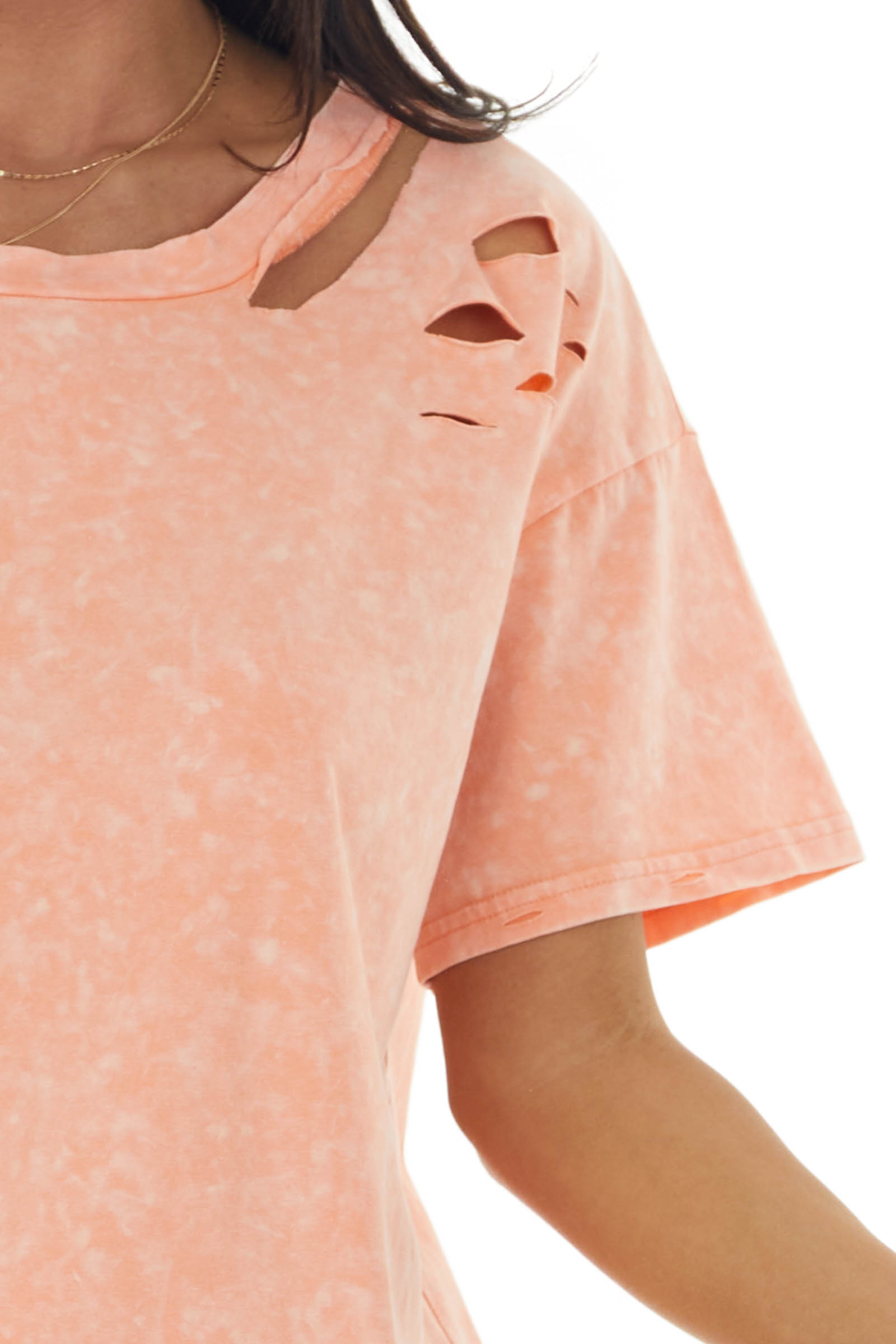 Melange Salmon Knit Top with Laser Cutouts