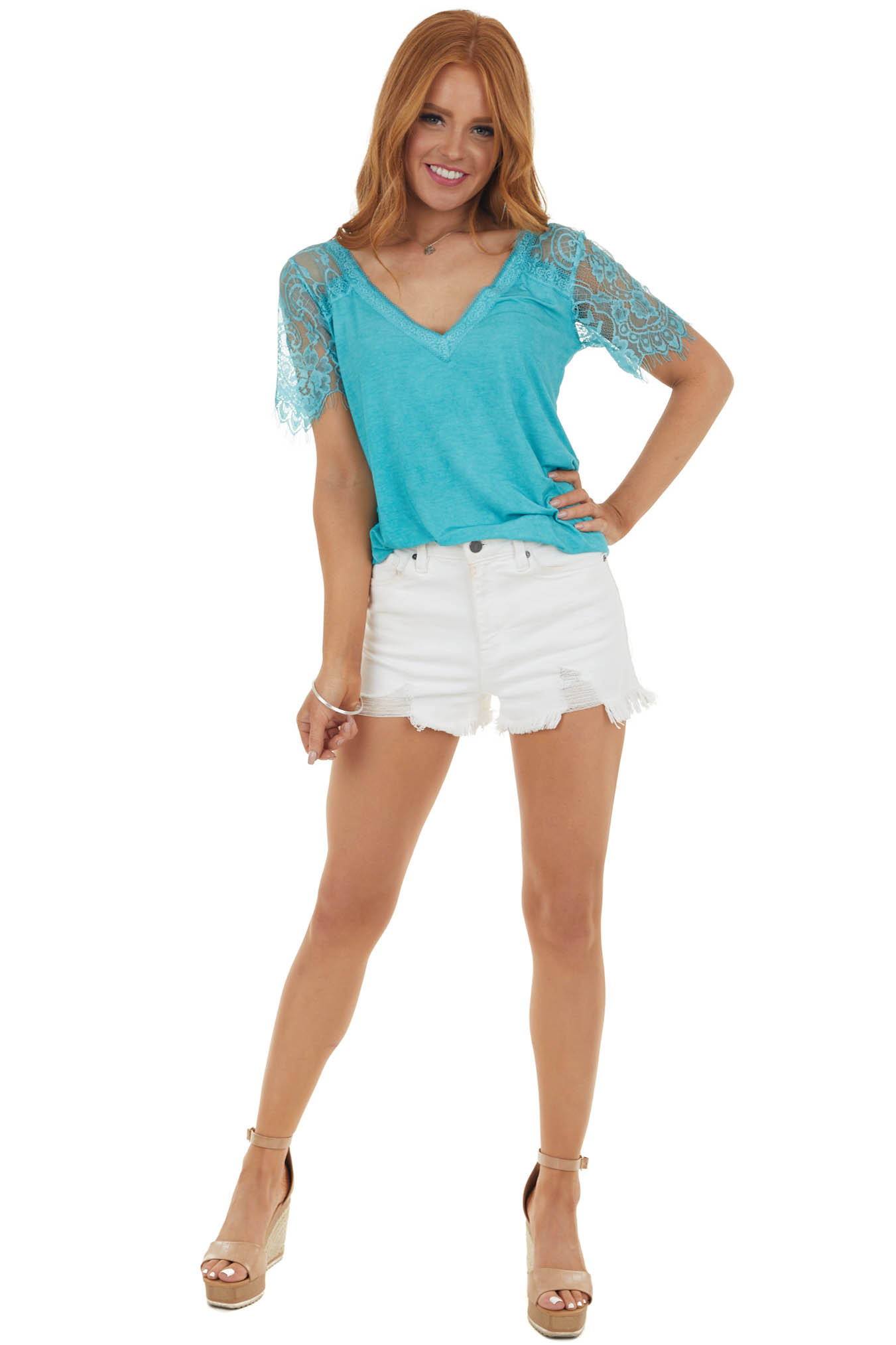 Teal V Neck Short Sleeve Top with Lace Detail