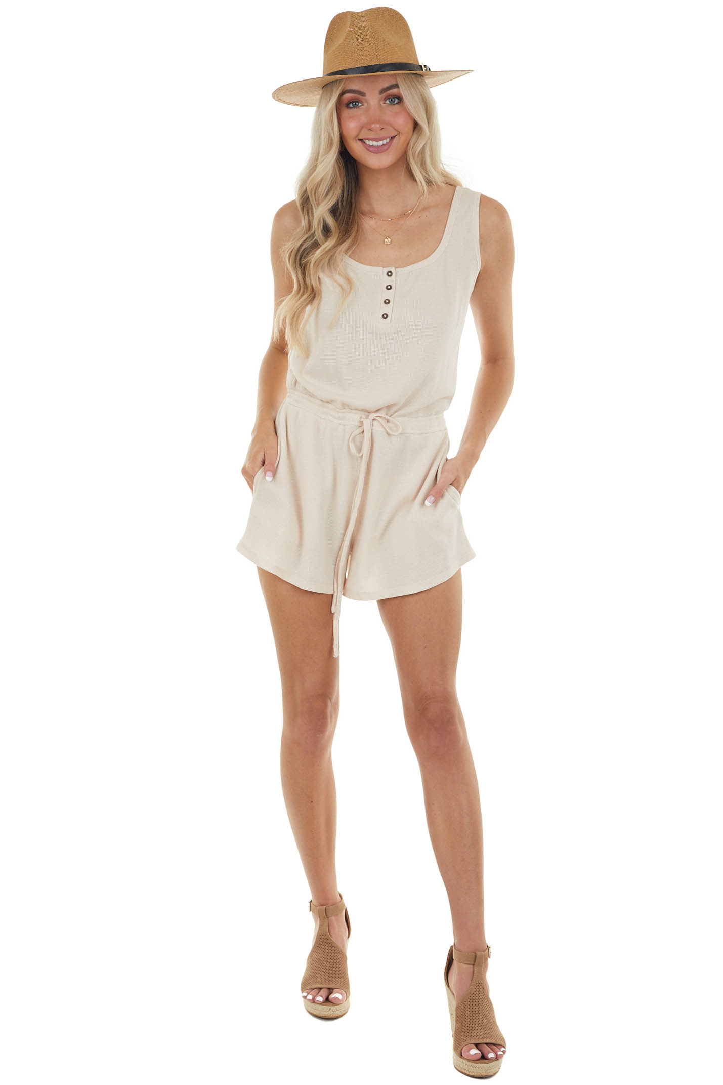 Champagne Waffle Knit Romper with Side Pockets