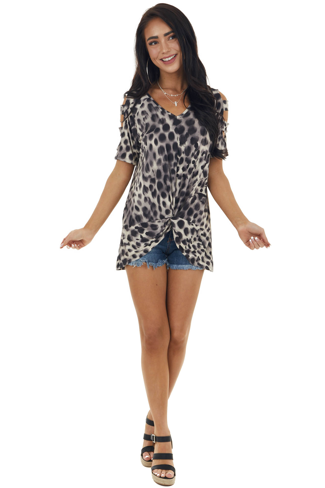 Leopard Print Knit Top with Cut Out Sleeves