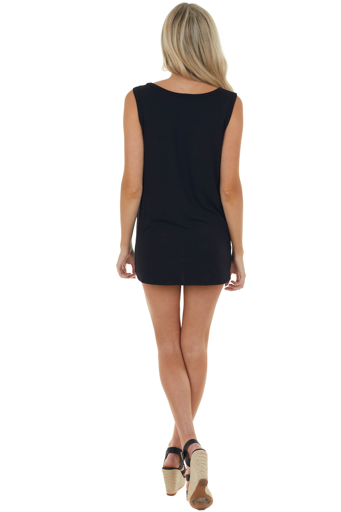 Black Colorblock Sleeveless Stretchy Knit Top