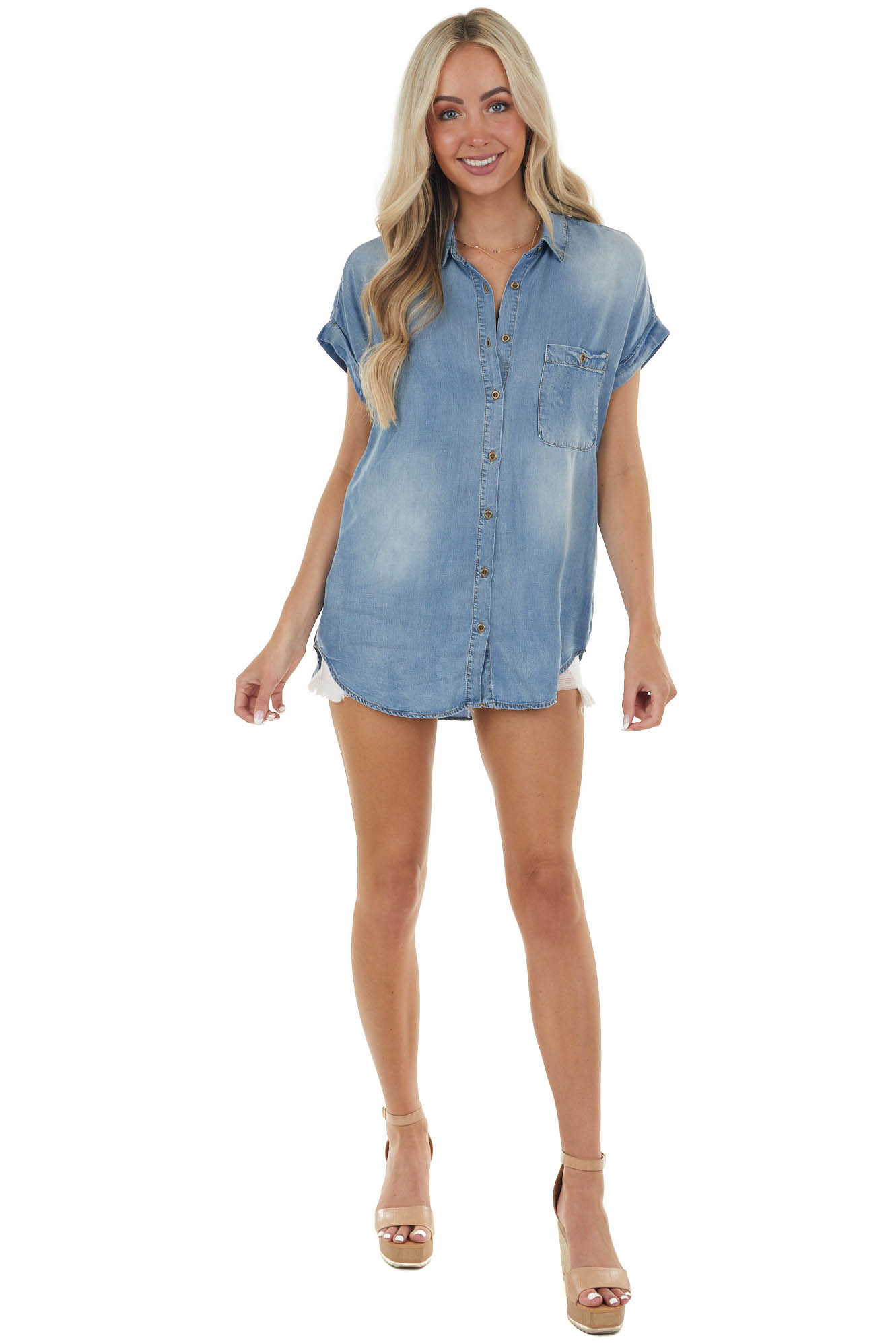 Mid Wash Short Sleeve Button Up Chambray Top
