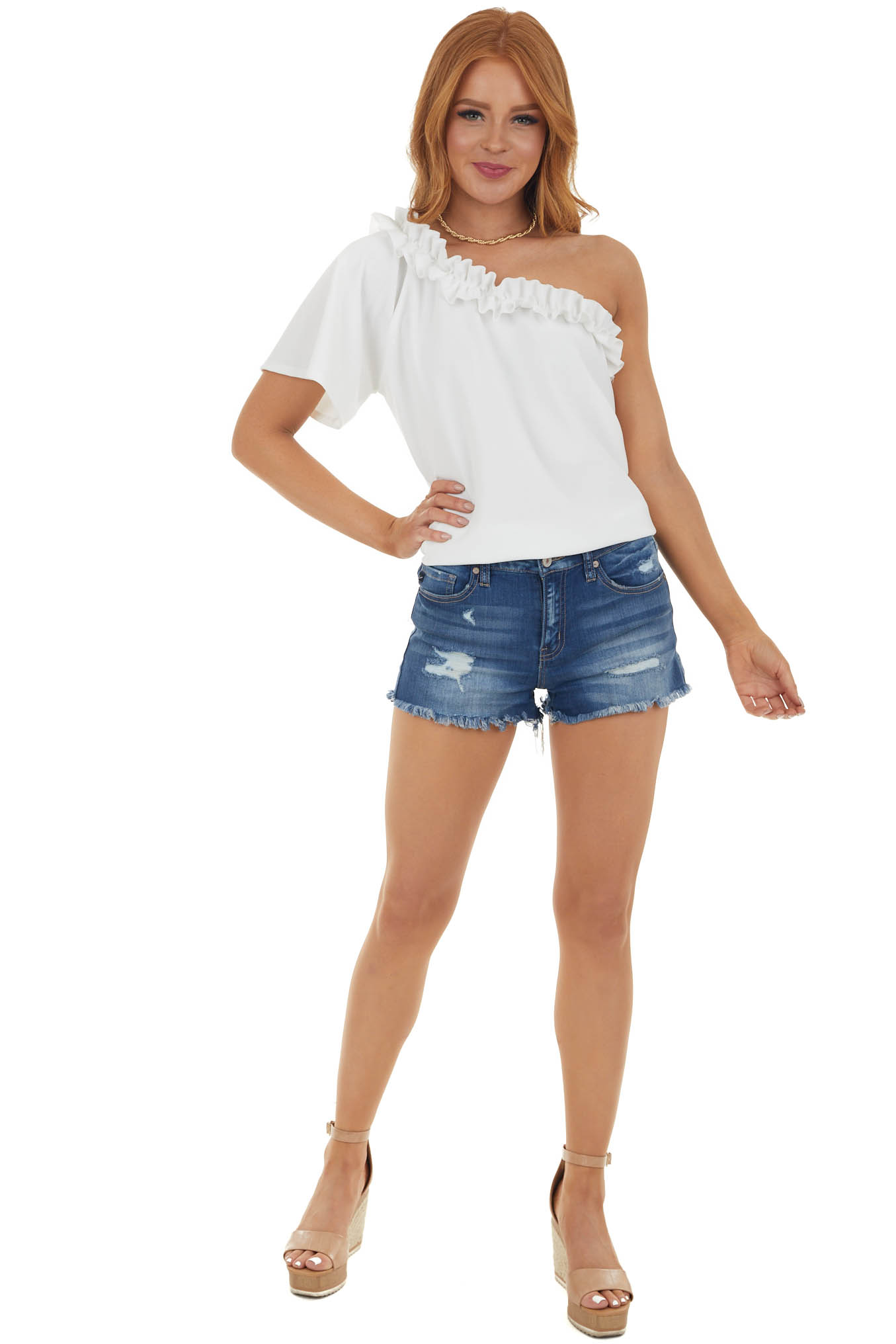 Off White Asymmetrical Top with Ruffle Detail