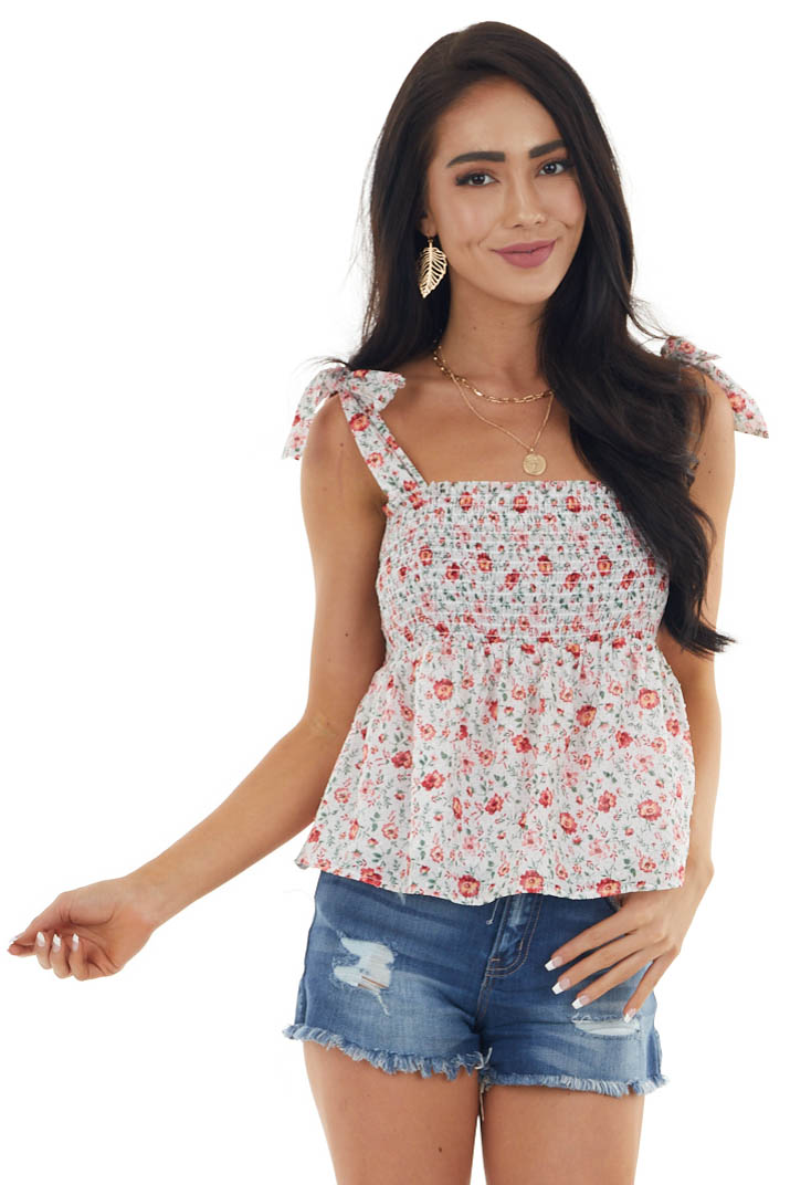 Pearl Floral Print Smocked Top with Tie Straps