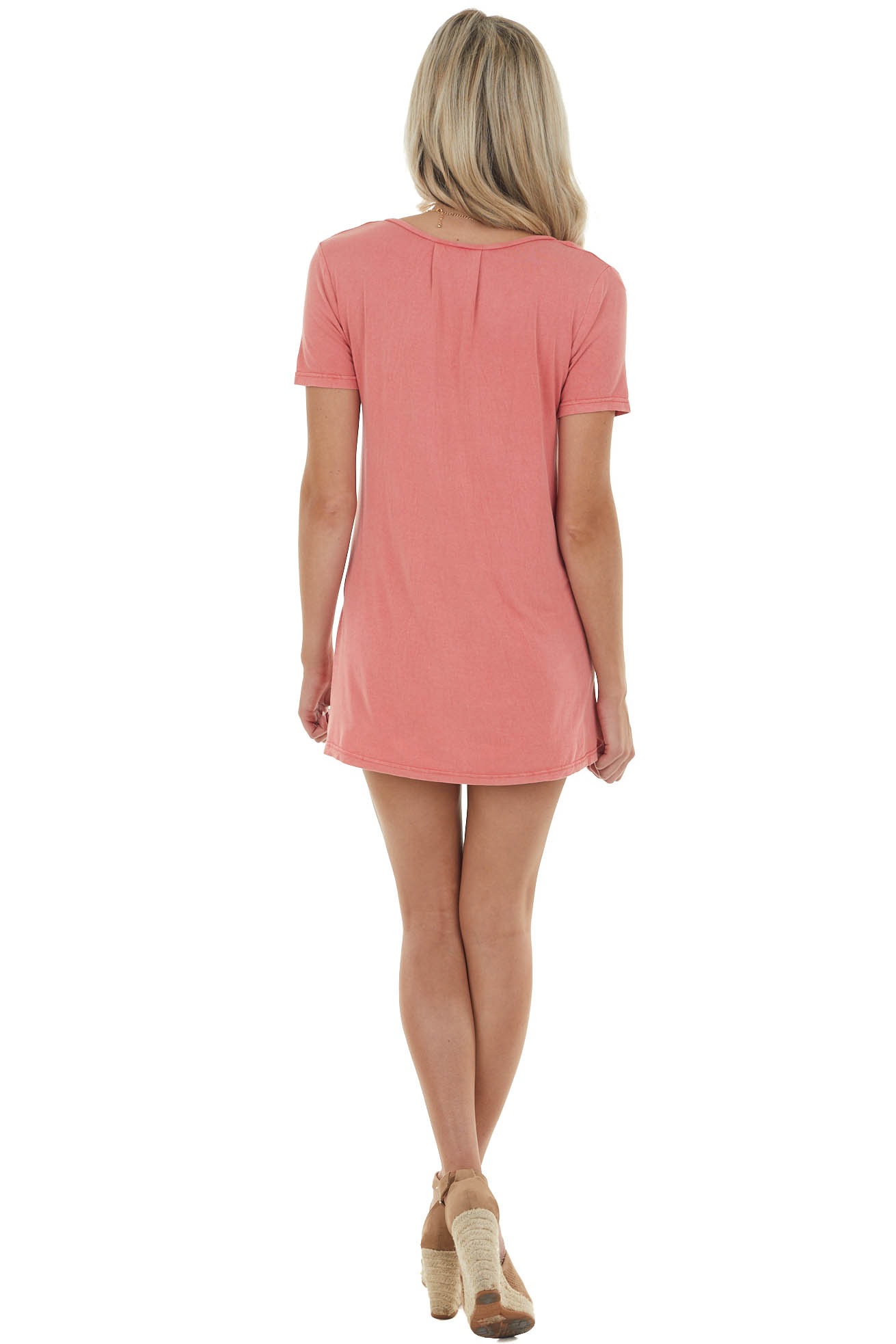 Watermelon V Neck Knit Top with Front Pocket