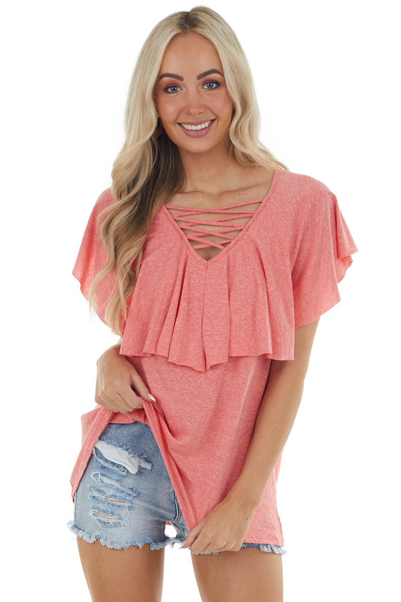 Coral Short Sleeve Caged Neck Overlaying Top