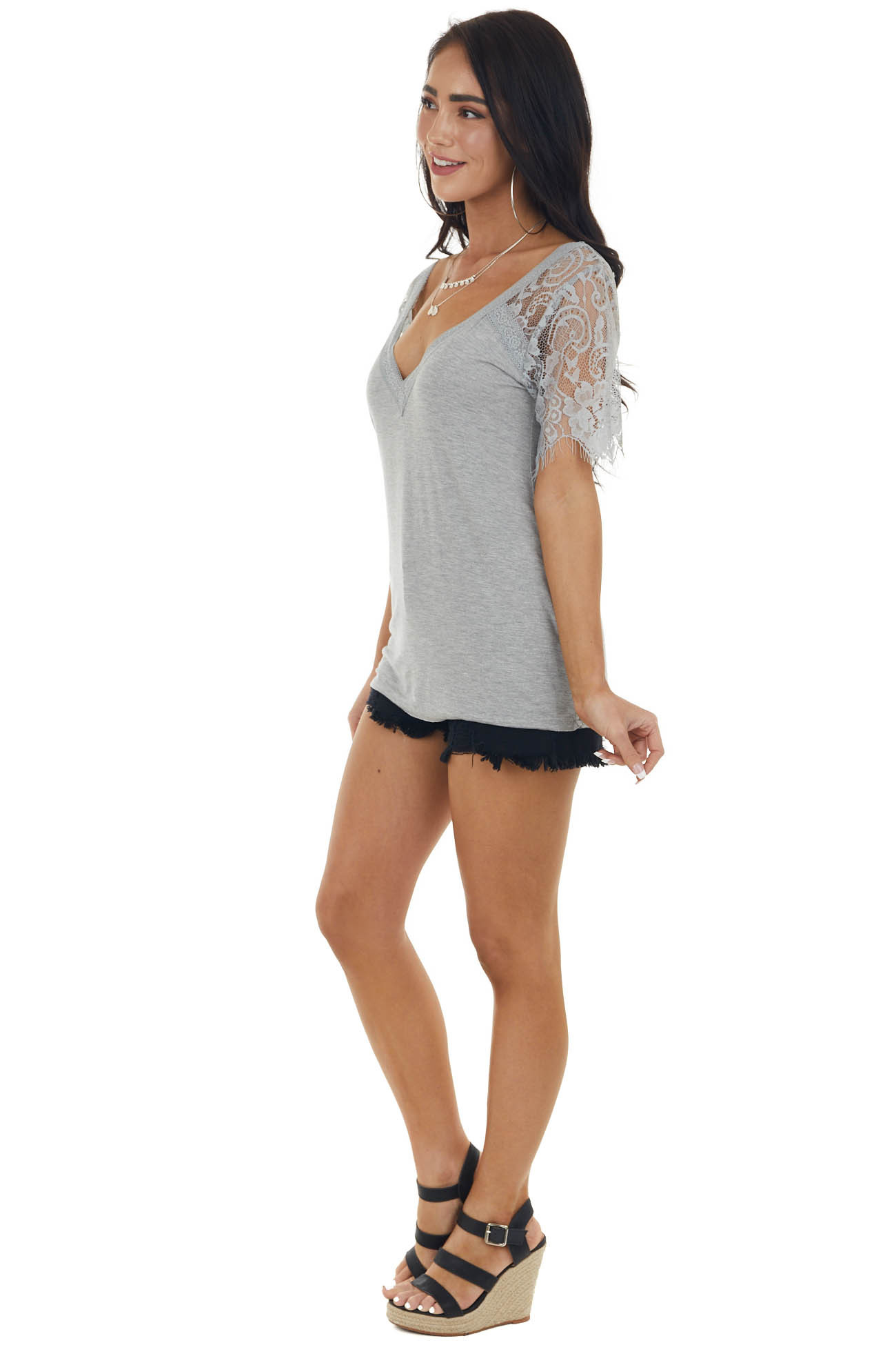 Steel V Neck Short Sleeve Top with Lace Detail