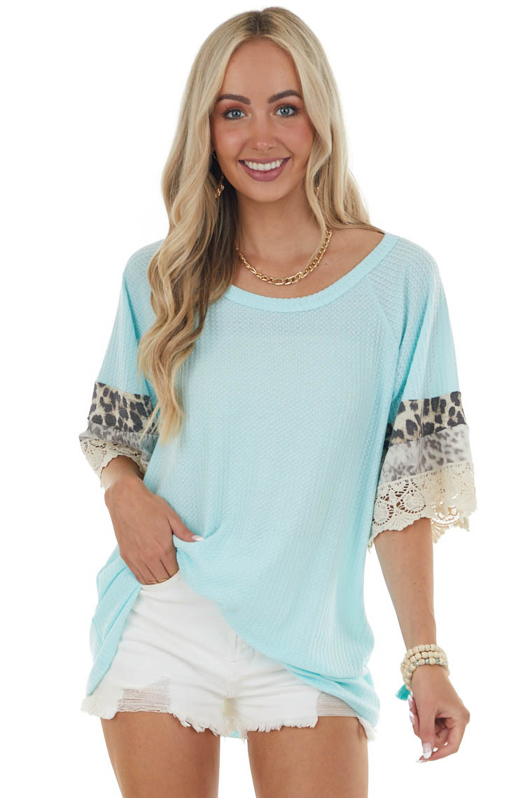 Aqua Leopard Short Sleeve Waffle Knit Top with Lace Detail