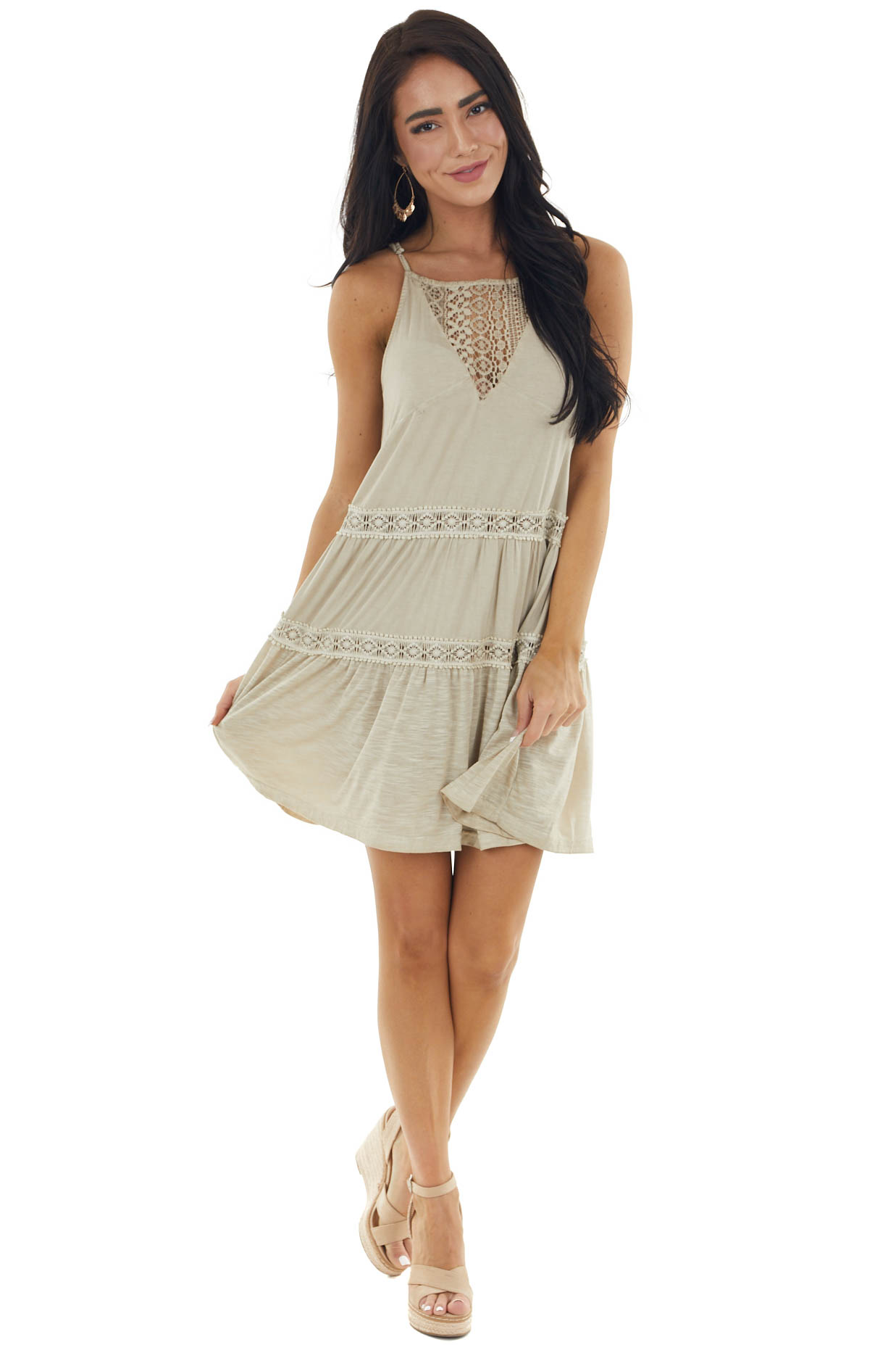 Oatmeal Sleeveless Tiered Mini Dress with Lace