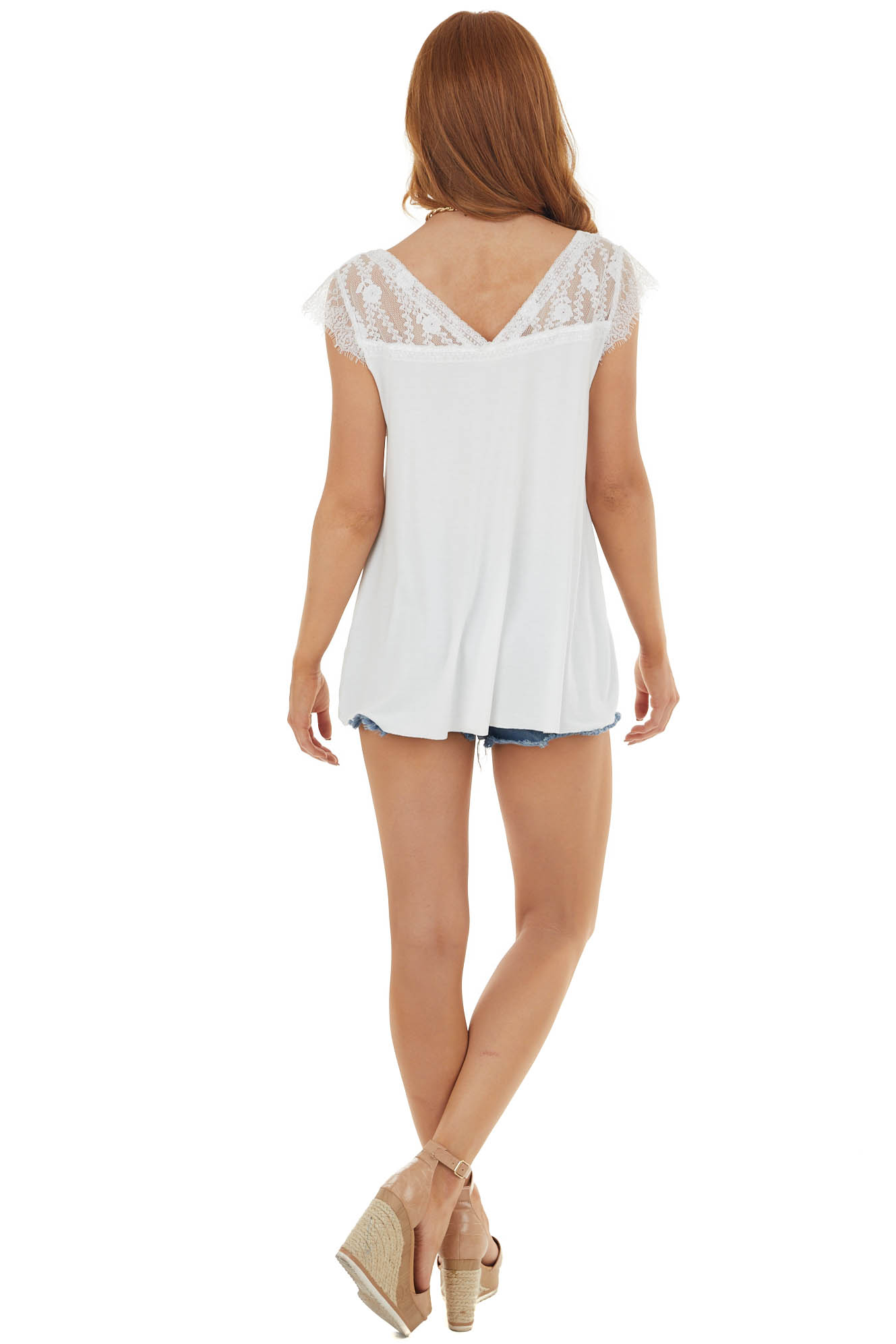 Pearl Cap Sleeve Loose Knit Top with Crochet Lace Detail
