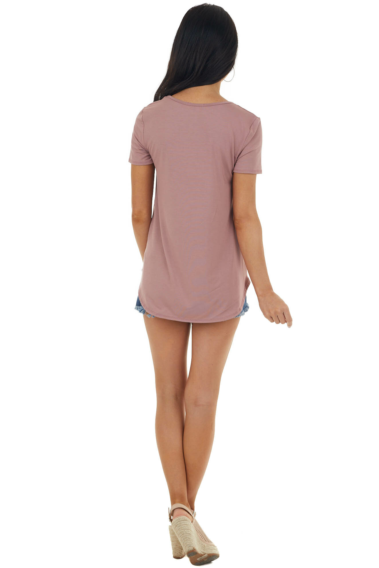 Rose Taupe Short Sleeve Top with Criss Cross Detail