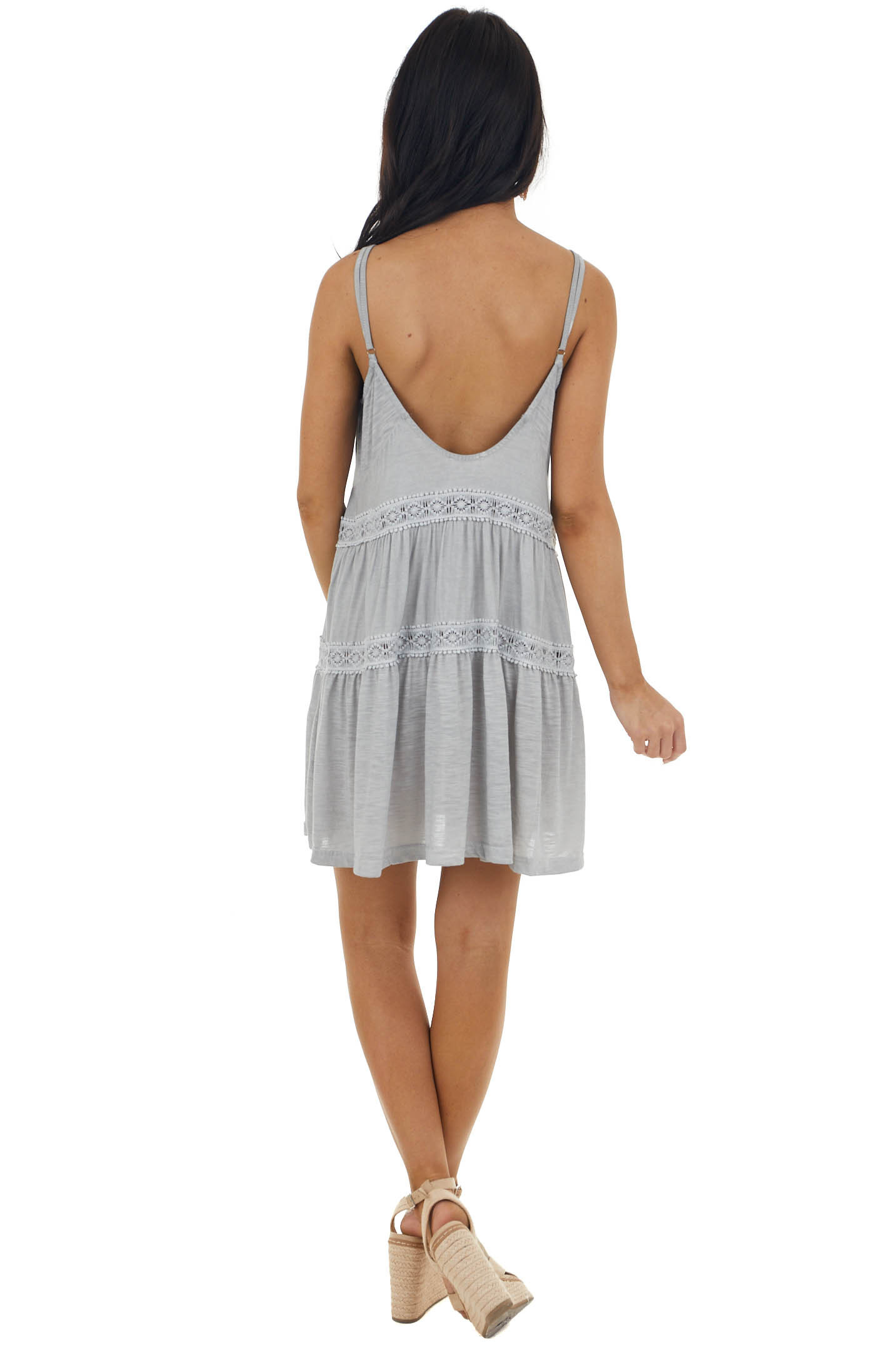 Grey Sleeveless Tiered Mini Dress with Lace