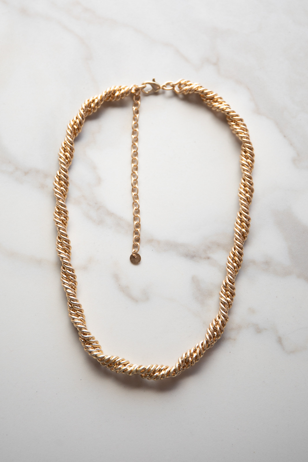 Brushed Gold Woven Twist Chain Necklace
