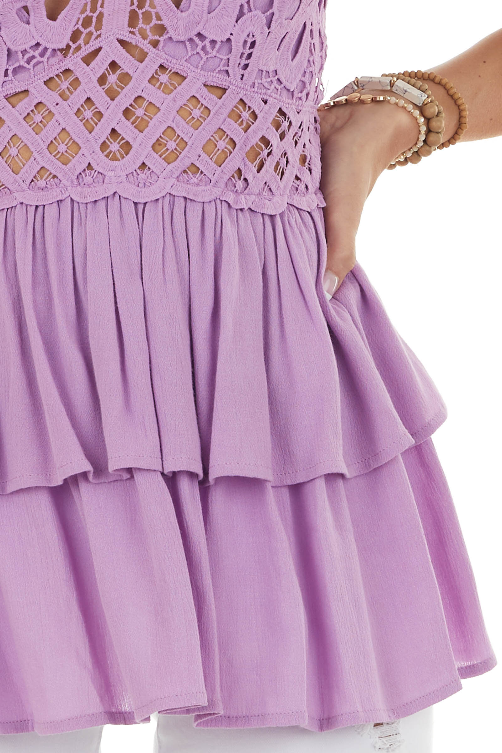 Lilac Drop Waist Lace Embroidered Ruffle Top