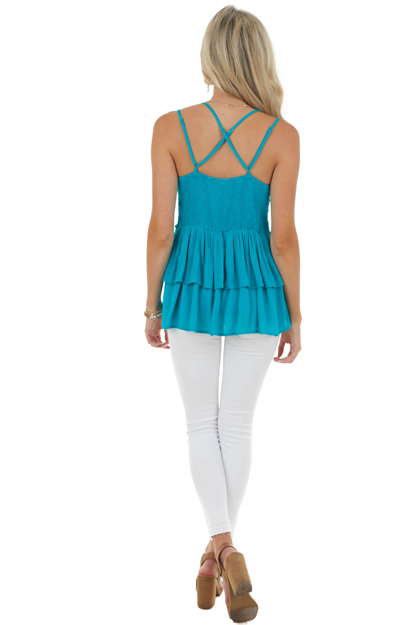 Rich Teal Drop Waist Lace Embroidered Top