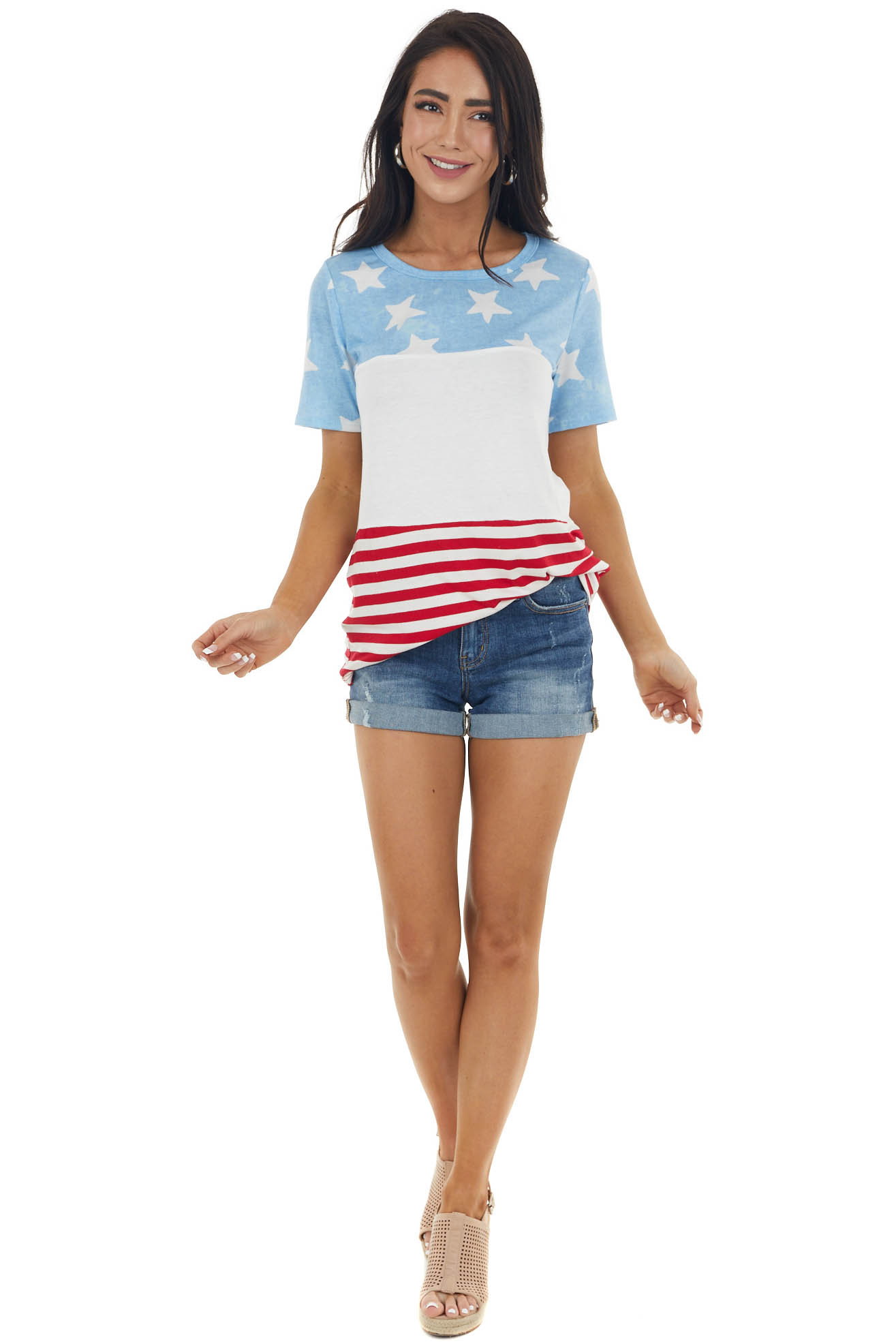 Stars and Stripes Colorblock Short Sleeve Top