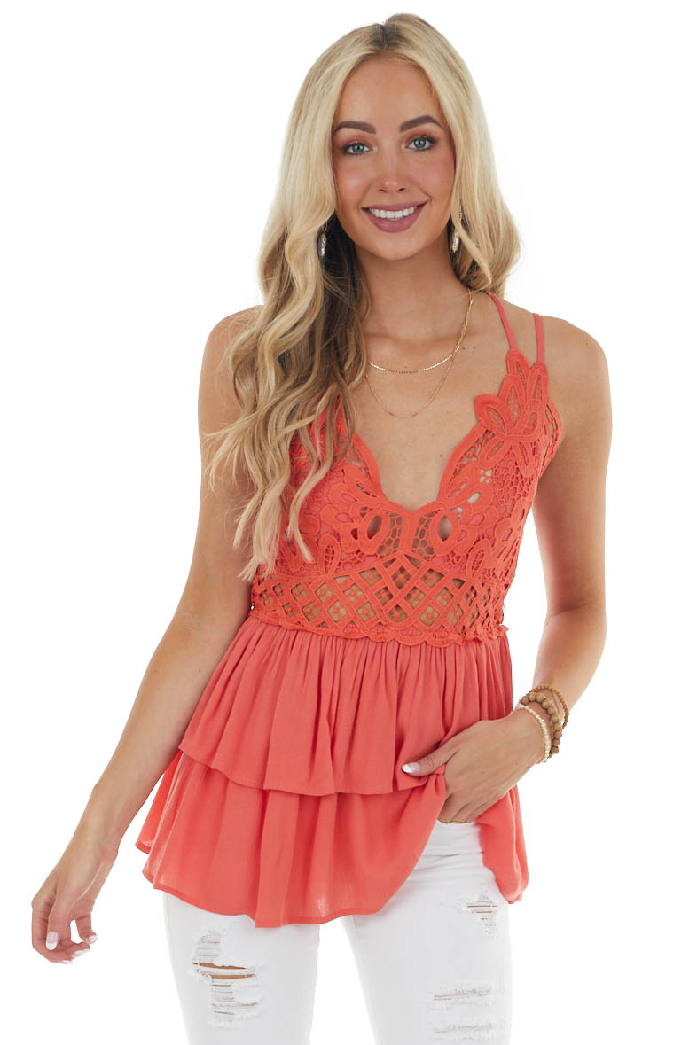 Rich Coral Drop Waist Lace Embroidered Top