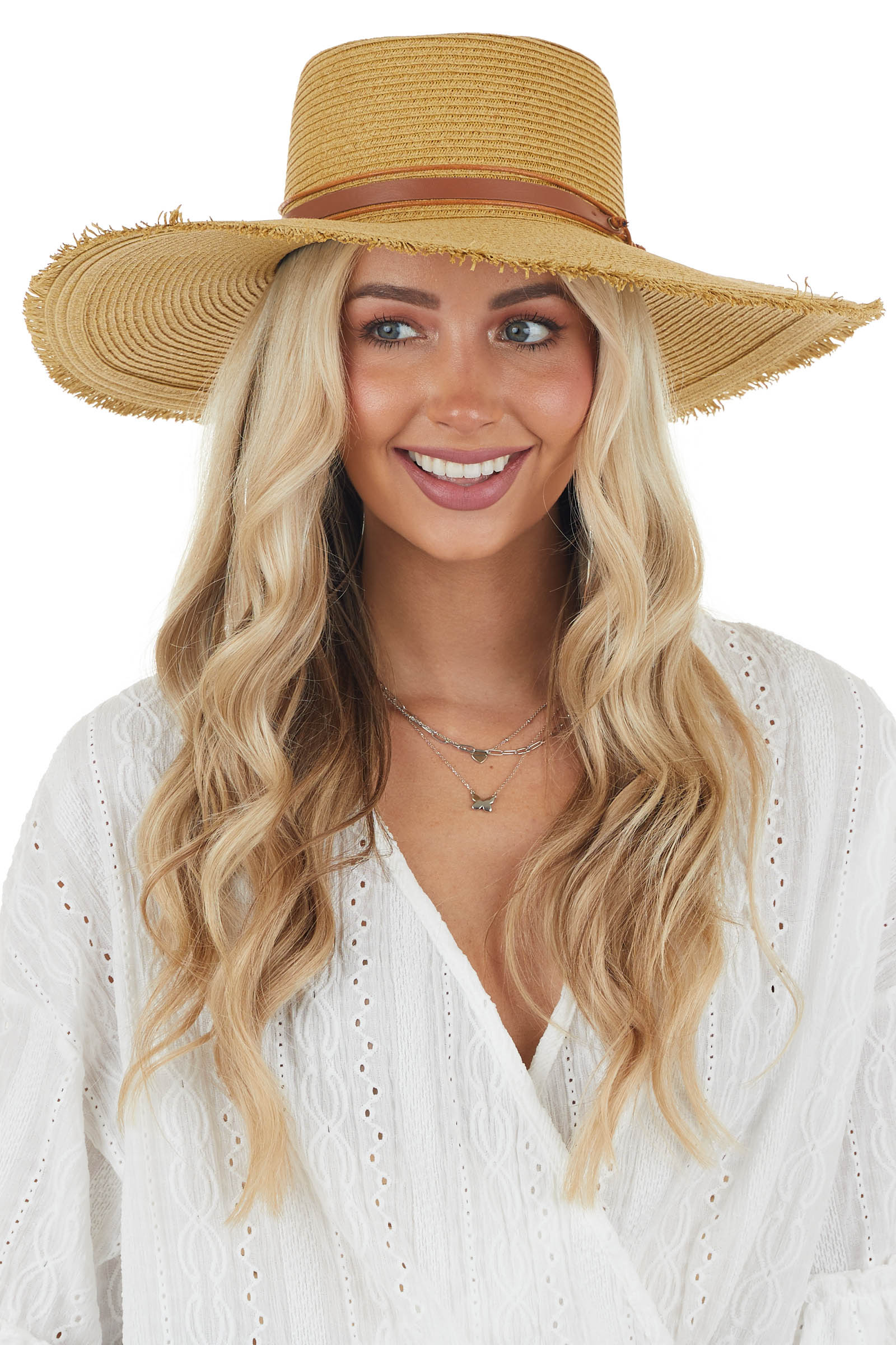 Sand Wide Brimmed Sun Hat with Brown Band