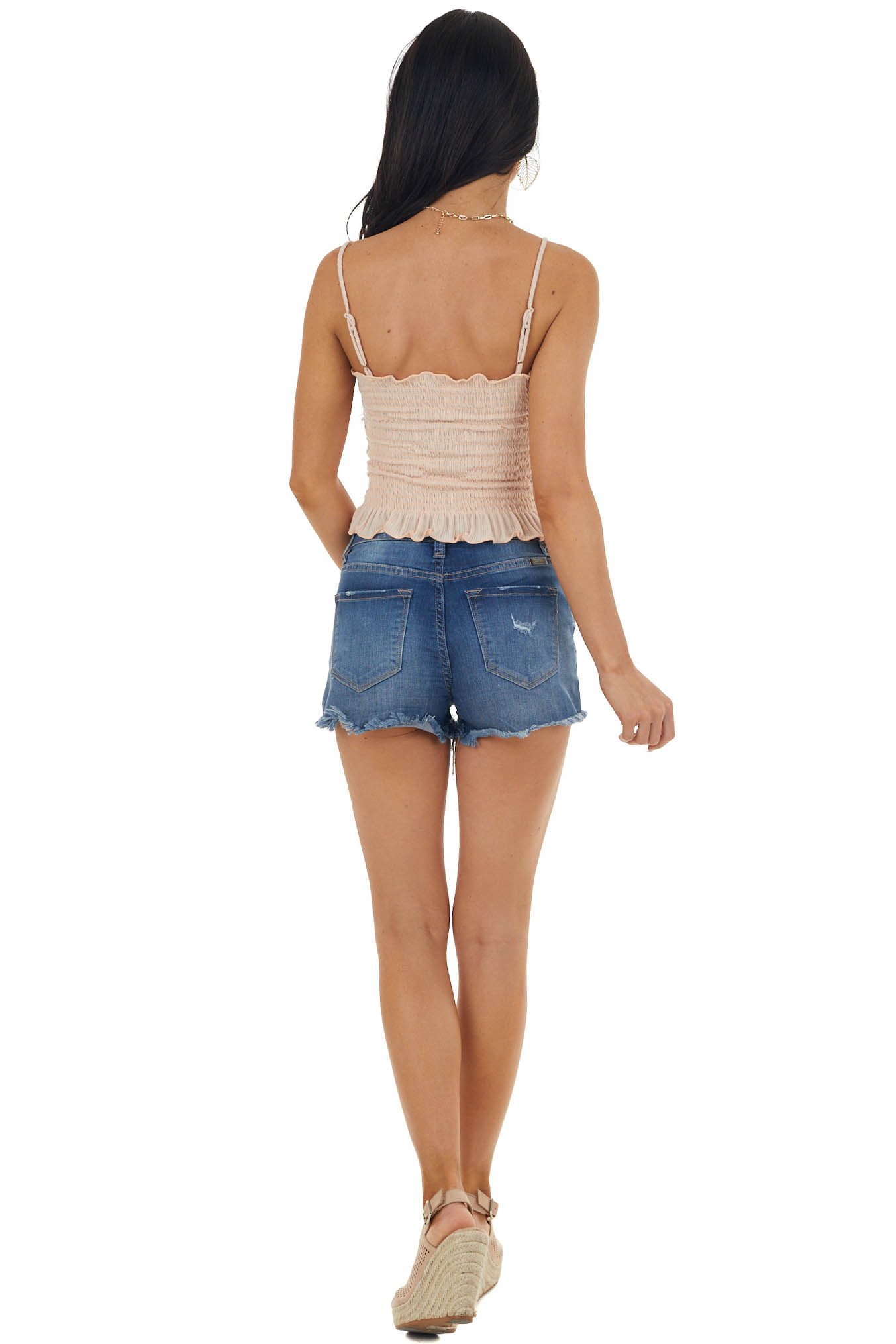 Peach Smocked Crop Tank Top with Ruffle Detail