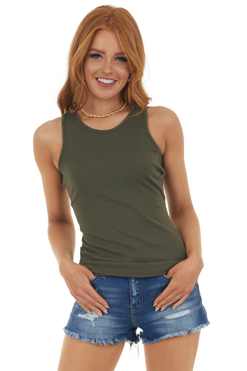Deep Olive Ribbed Knit Scoop Neck Tank Top